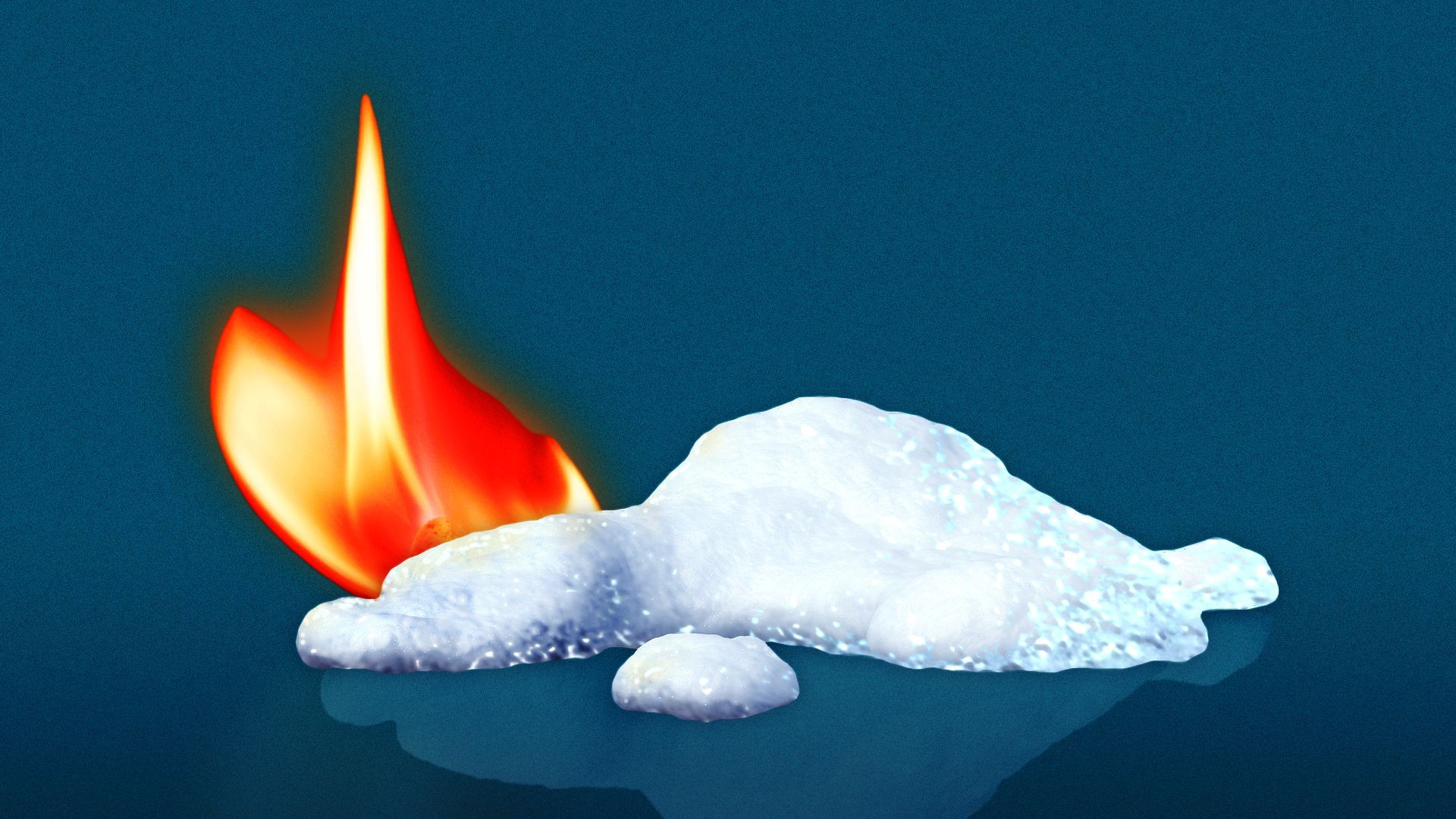 Illustration of pile of melting snow next to a flame