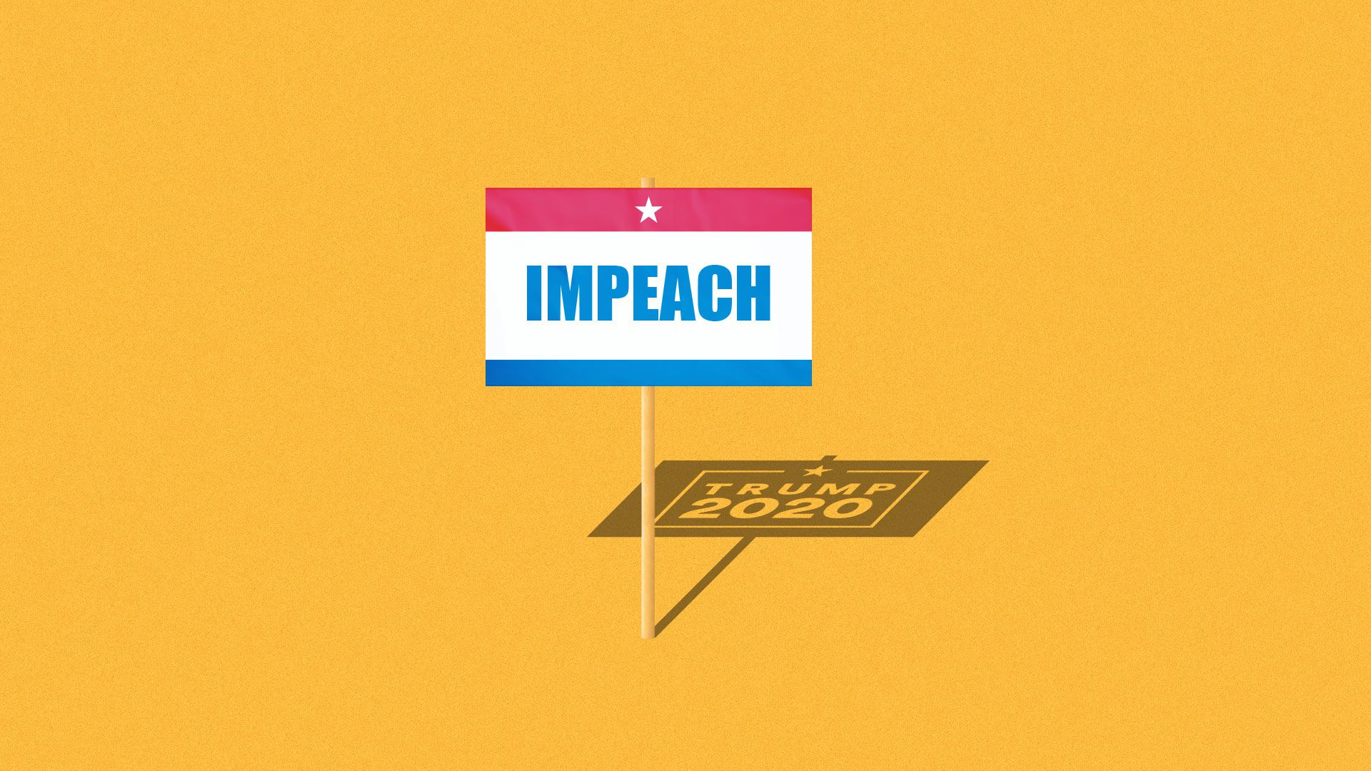 Impeach campaign sign with a Trump 2020 campaign sign in its shadow.