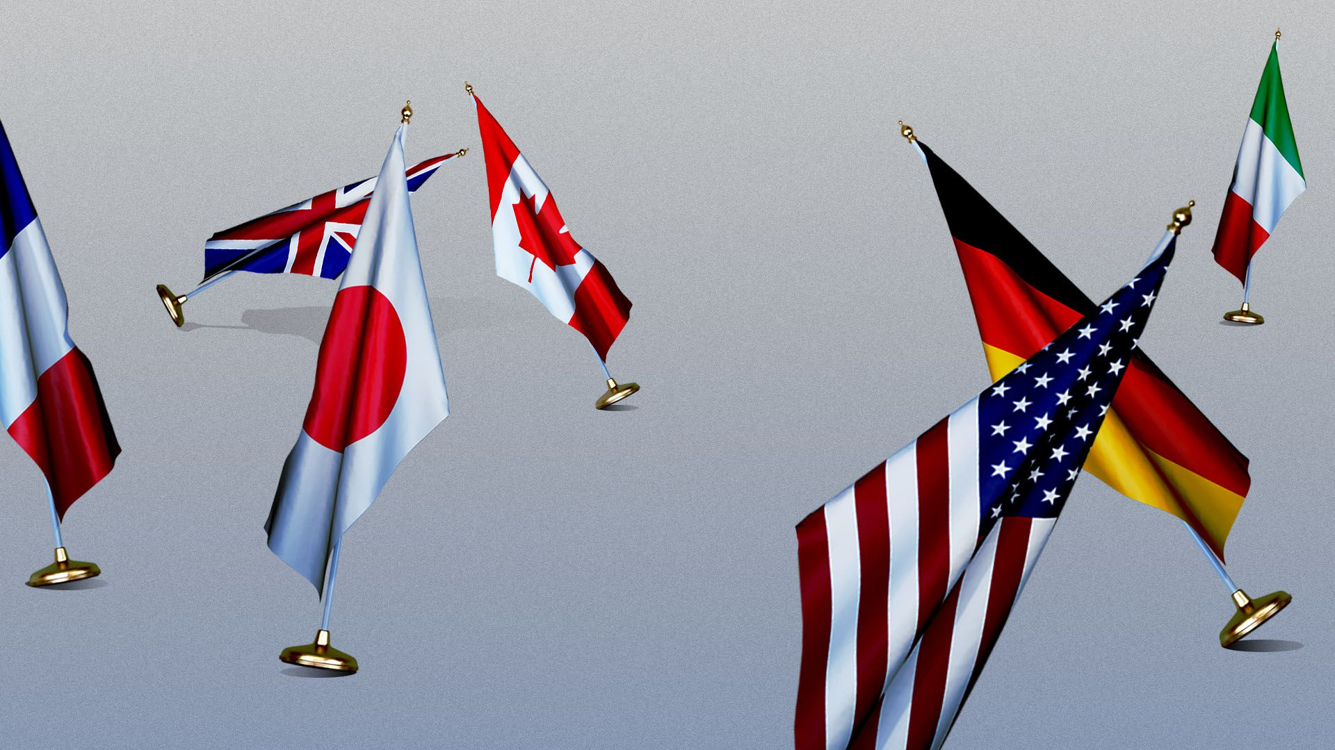Illustration of the G7 flags in various states of falling over