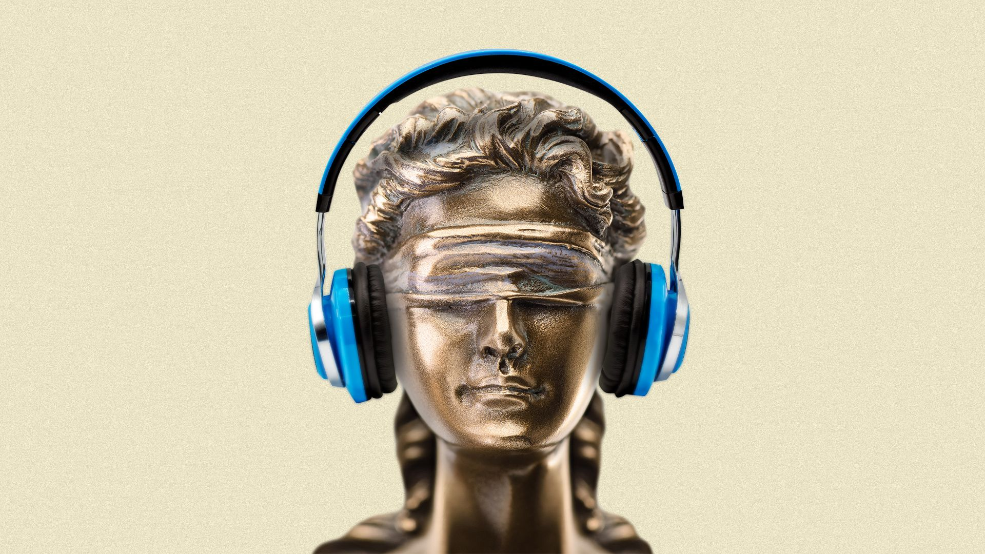Illustration of Lady Justice with headphones on.