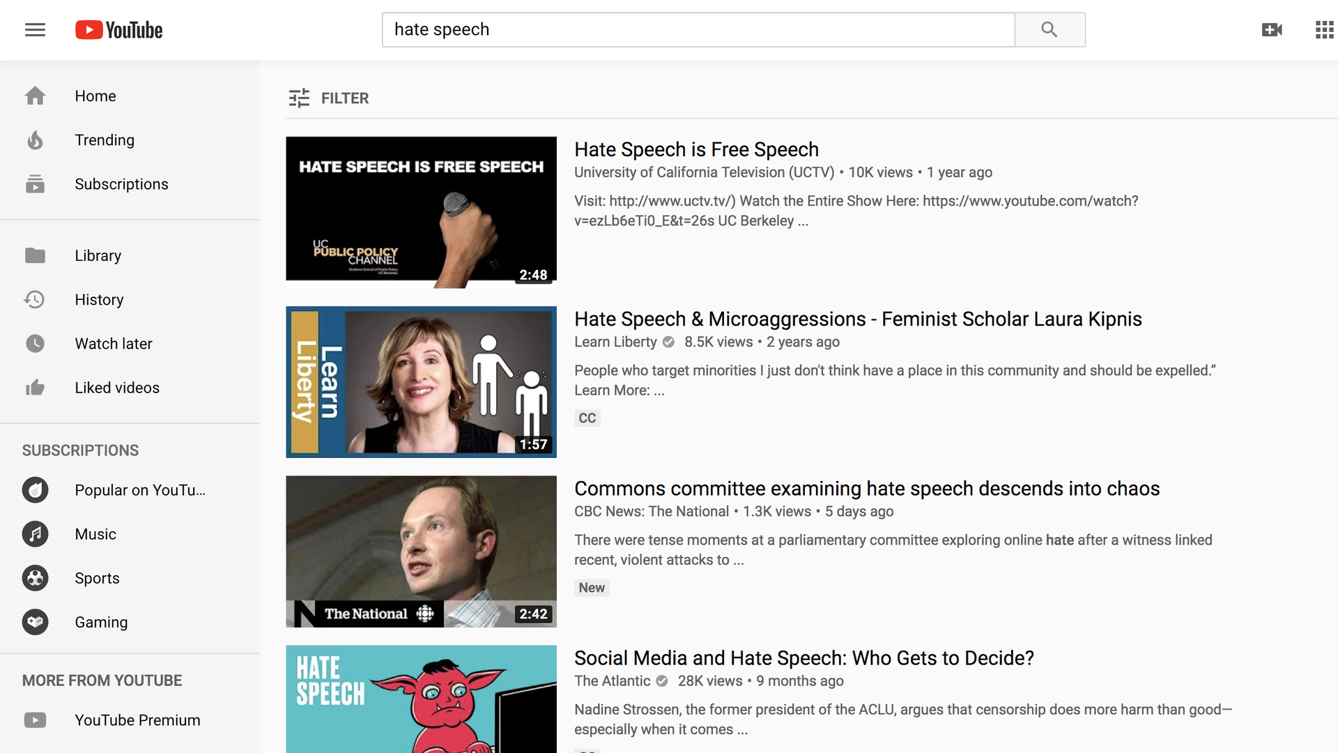 "A screenshot of YouTube with ""Hate Speech"" in the search bar and results"