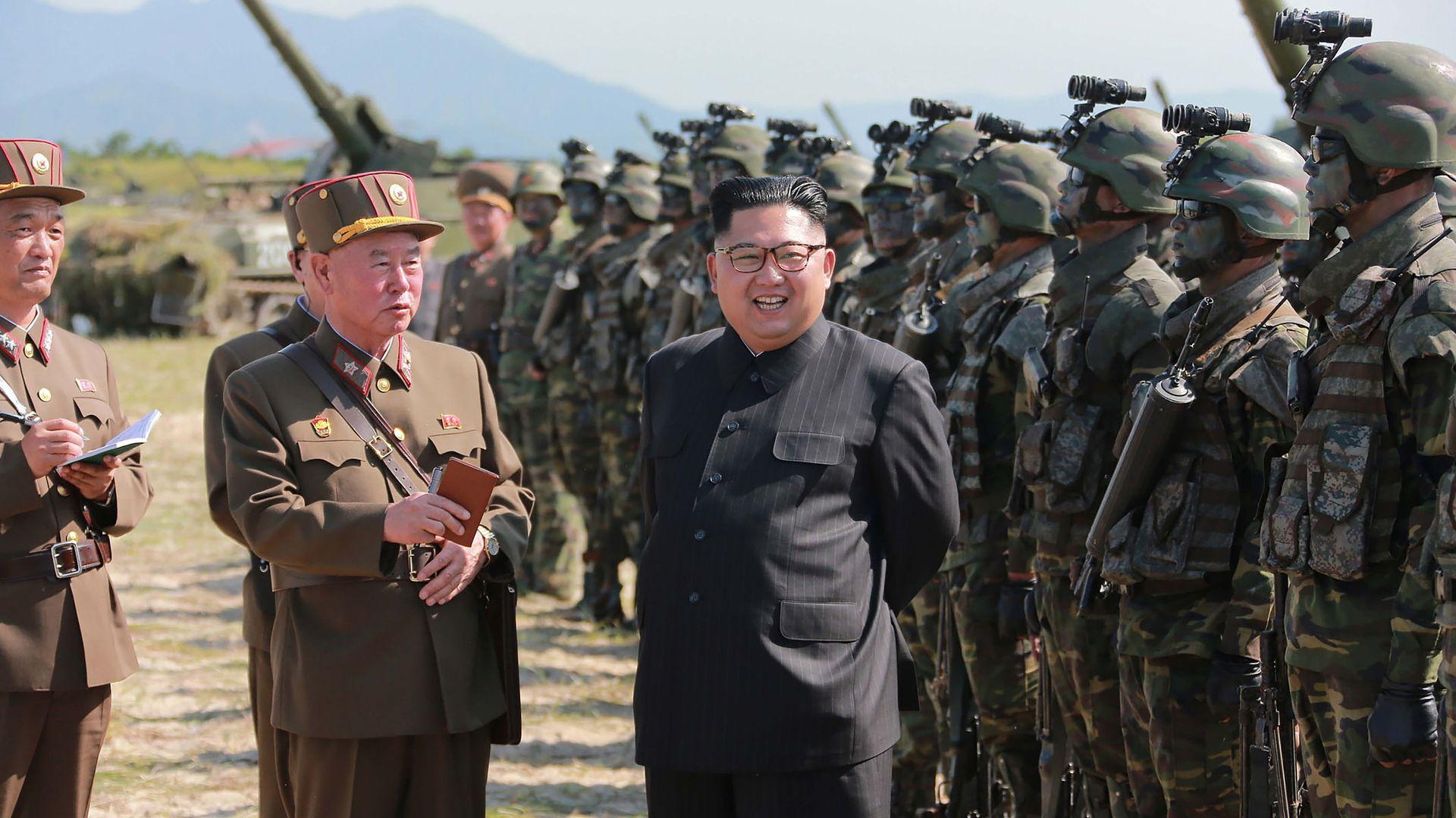 Kim Jong-un with soldiers and artillery