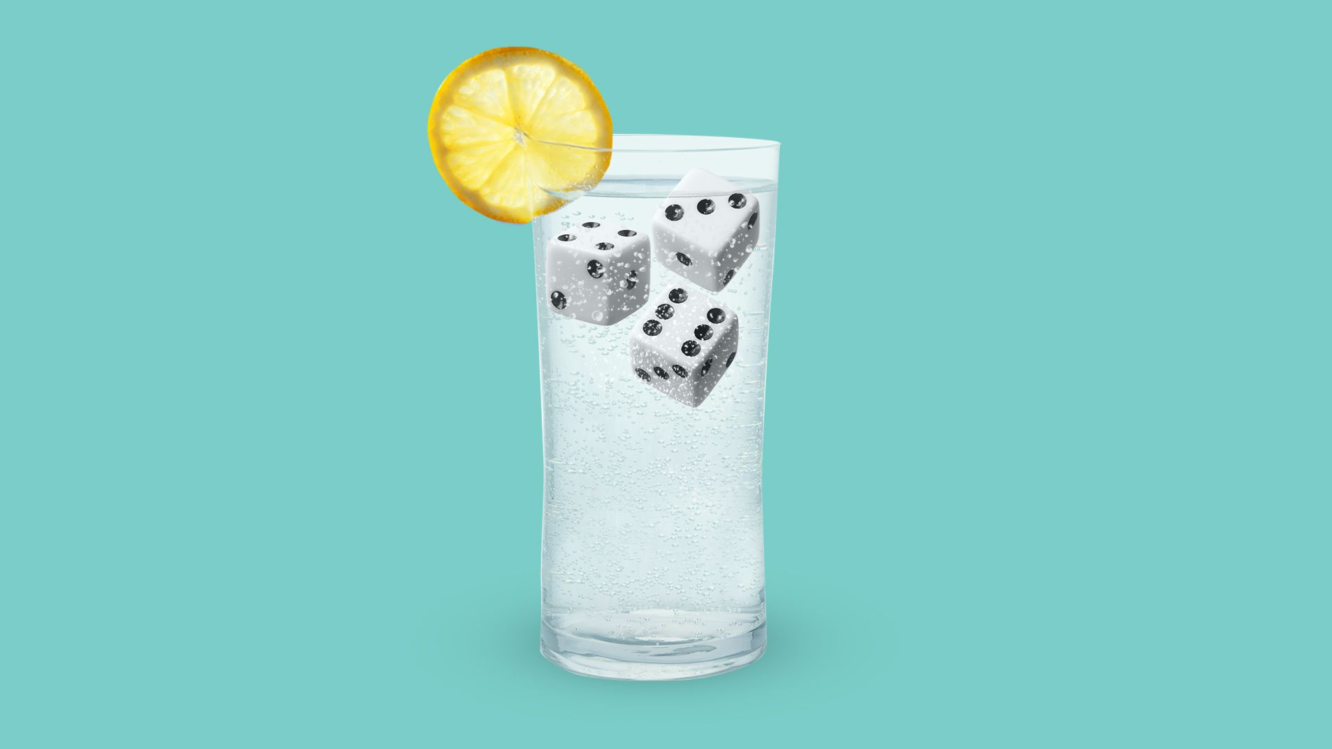Illustration of a glass of seltzer with dice as ice cubes