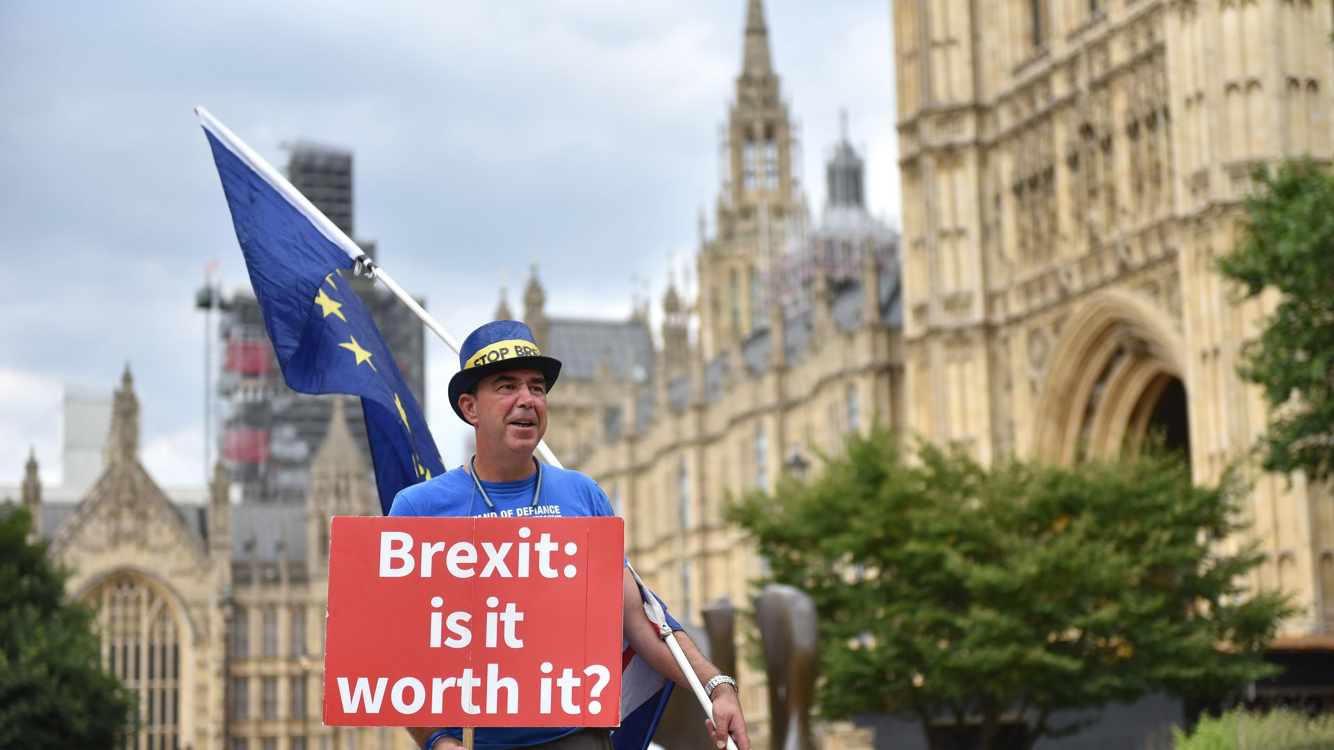 A man holding an anti-Brexit sign outside Westminster
