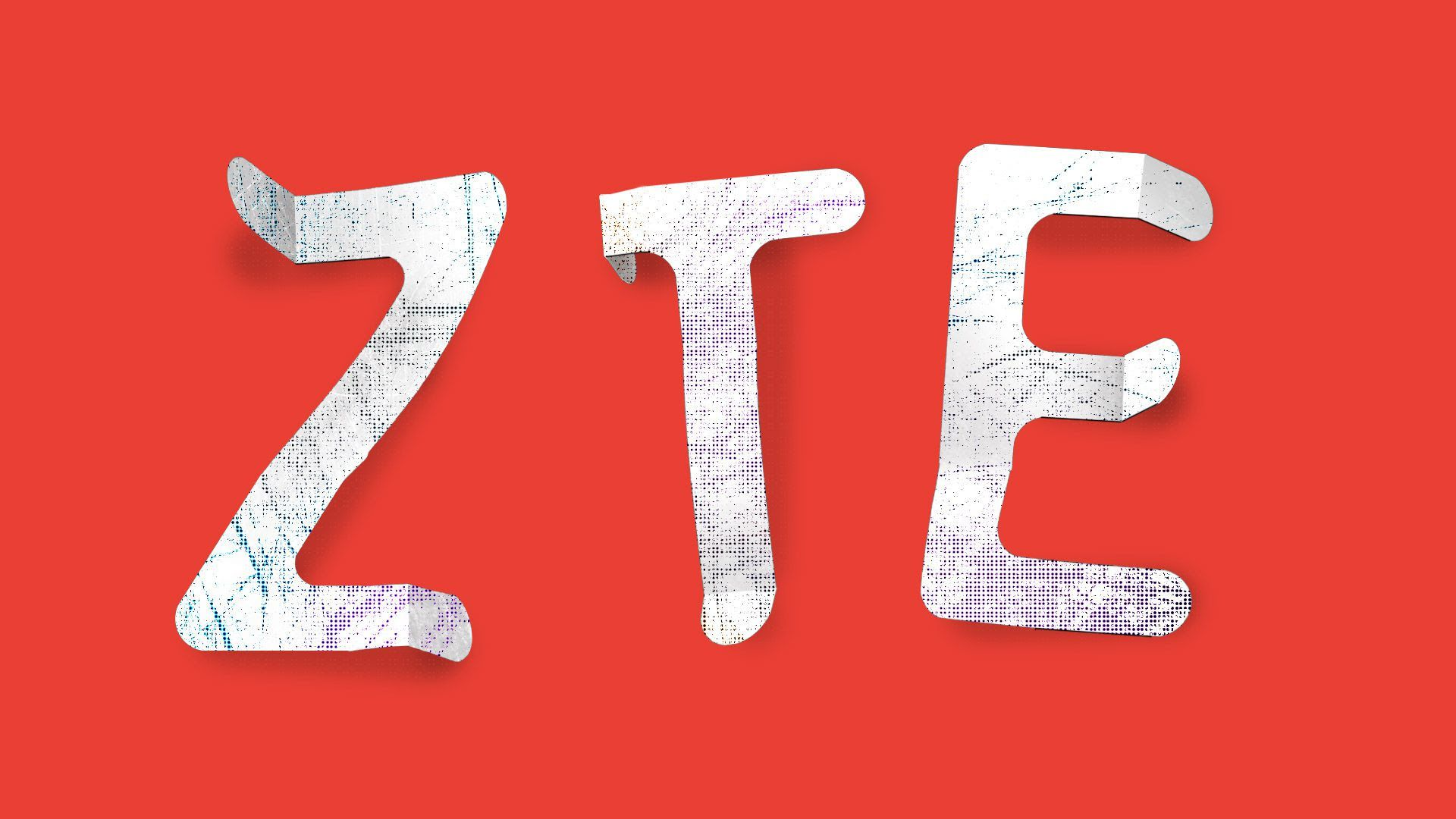 Illustration of ZTE letters crinkled
