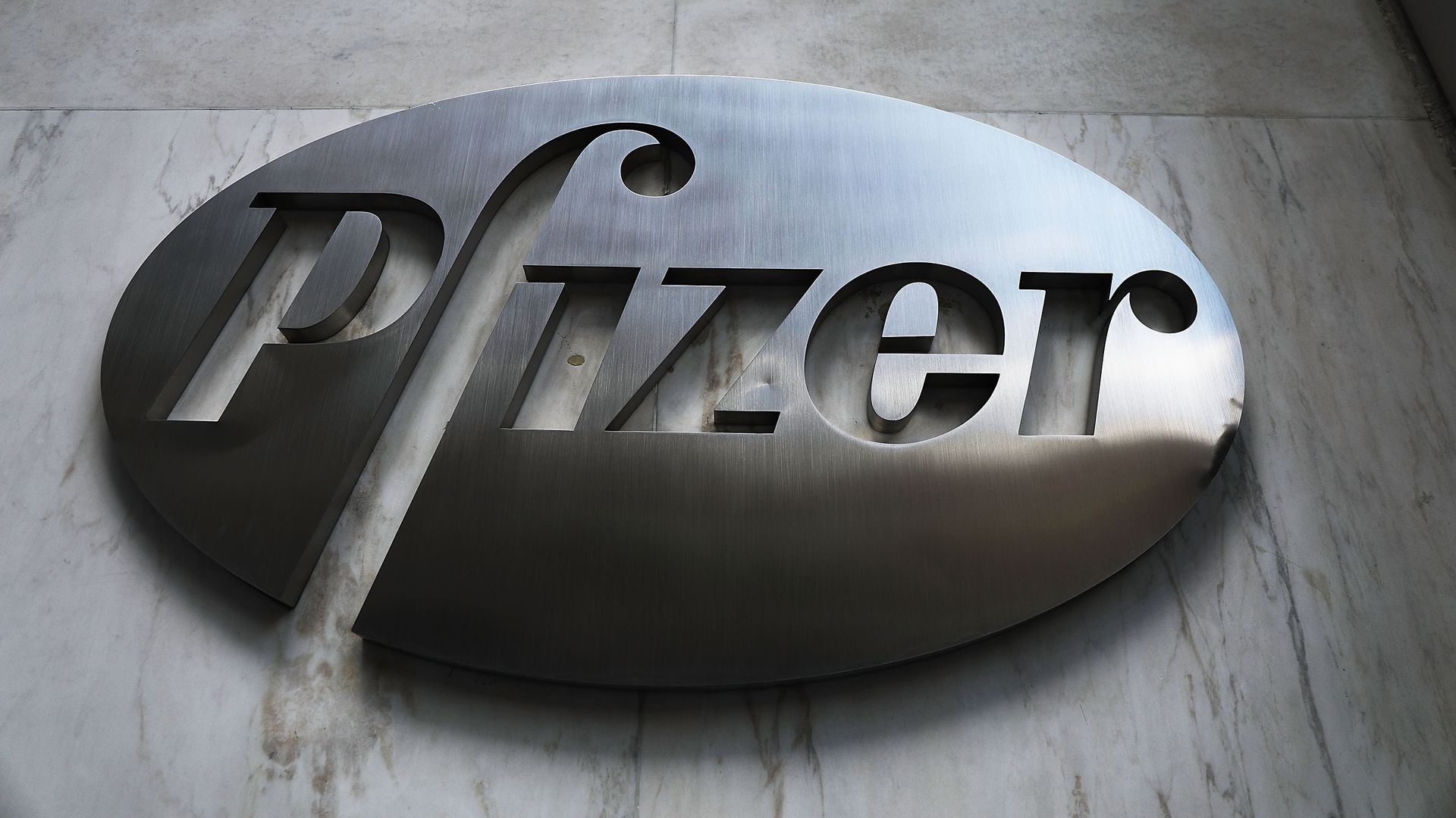 Pfizer's logo on its headquarters building.