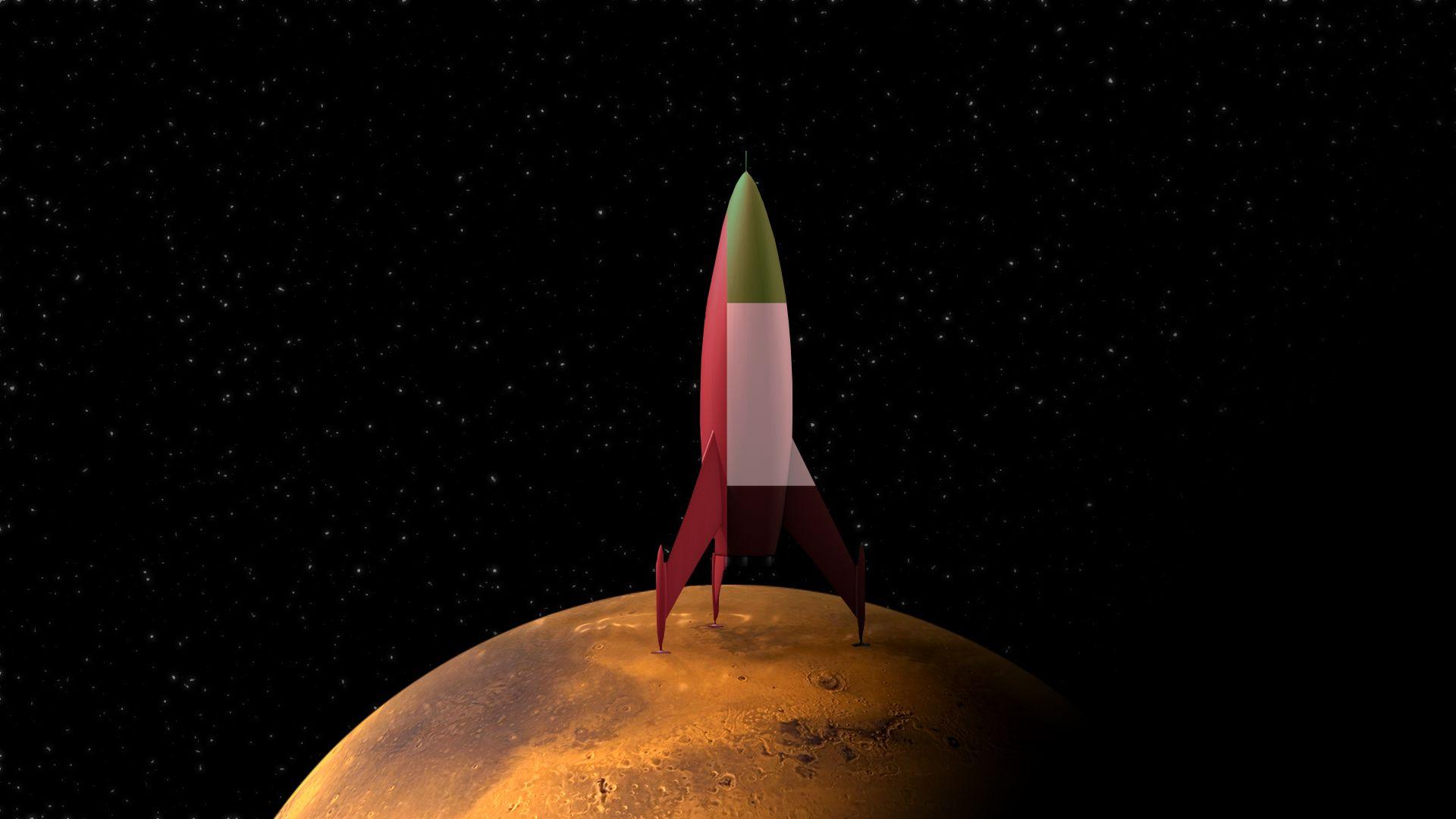 Illustration of rocket on Mars with United Arab Emirate colors