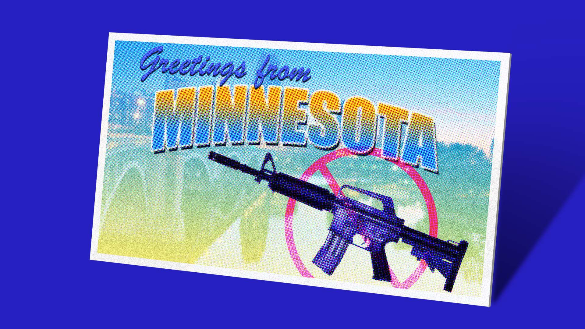 "Illustration of a ""greetings from Minnesota"" postcard with a crossed out assault rifle on it"
