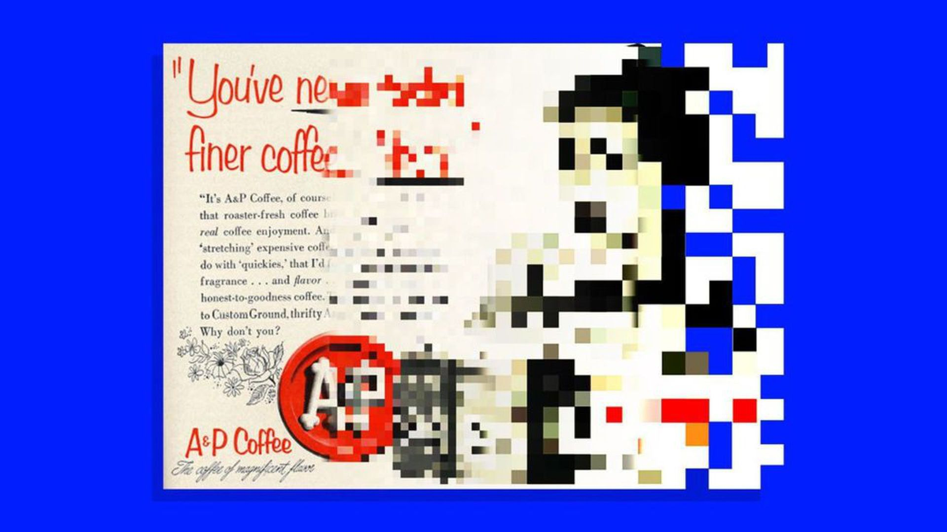 illustration Coffee ad that becomes pixelated