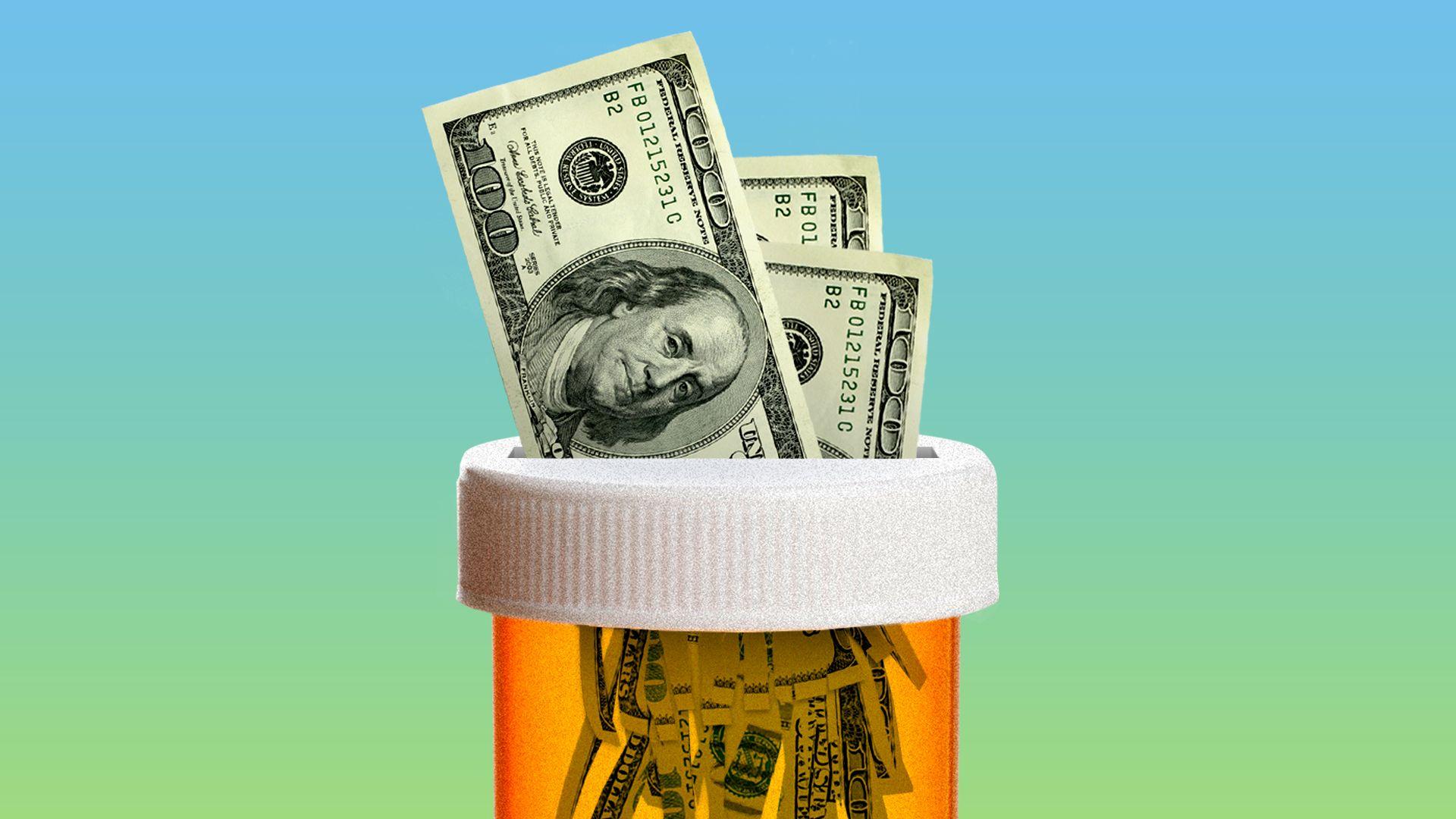 An amber pill bottle with hundred-dollar bills stuffed inside.