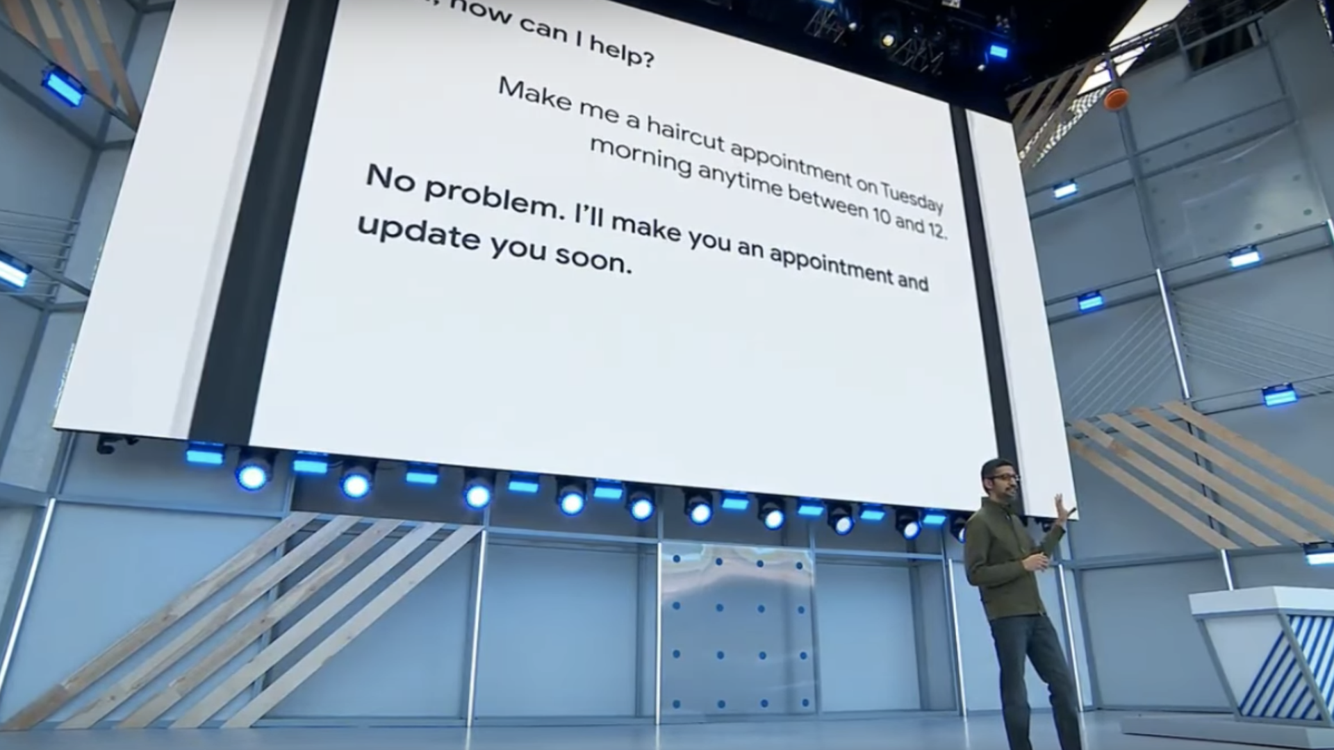 Google CEO Sundar Pichai demoing AI technology at Google I/O 2018