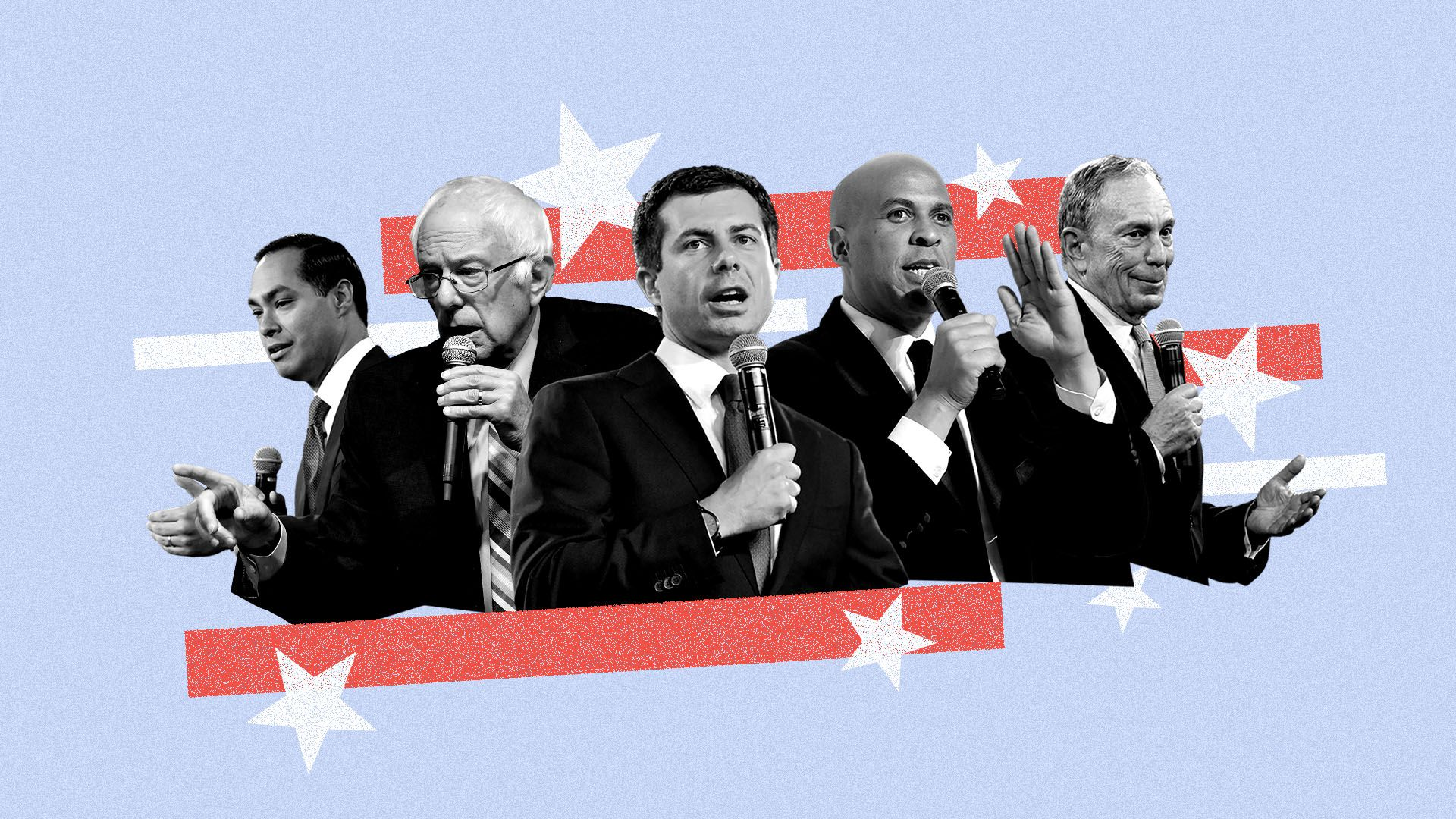 Photo illustration of mayors Julian Castro, Bernie Sanders, Pete Buttigieg, Cory Booker, and Michael Bloomberg with stars and stripes in the background