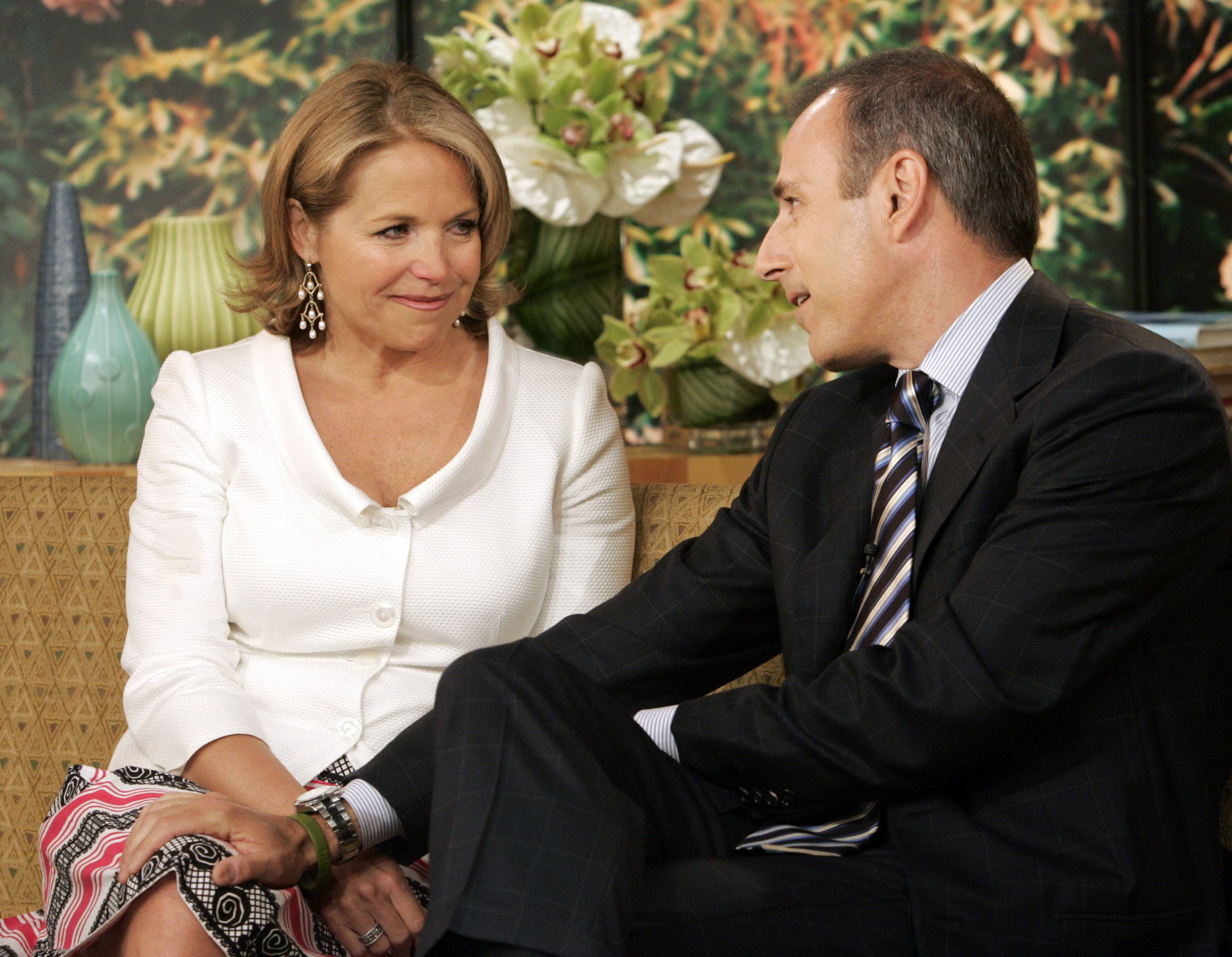 "Matt Lauer says his farewell to Katie Couric, his exiting co-host of the NBC ""Today"" television program in the studio, Wednesday May 31, 2006. With Lauer bringing the tissues, the ""Today"