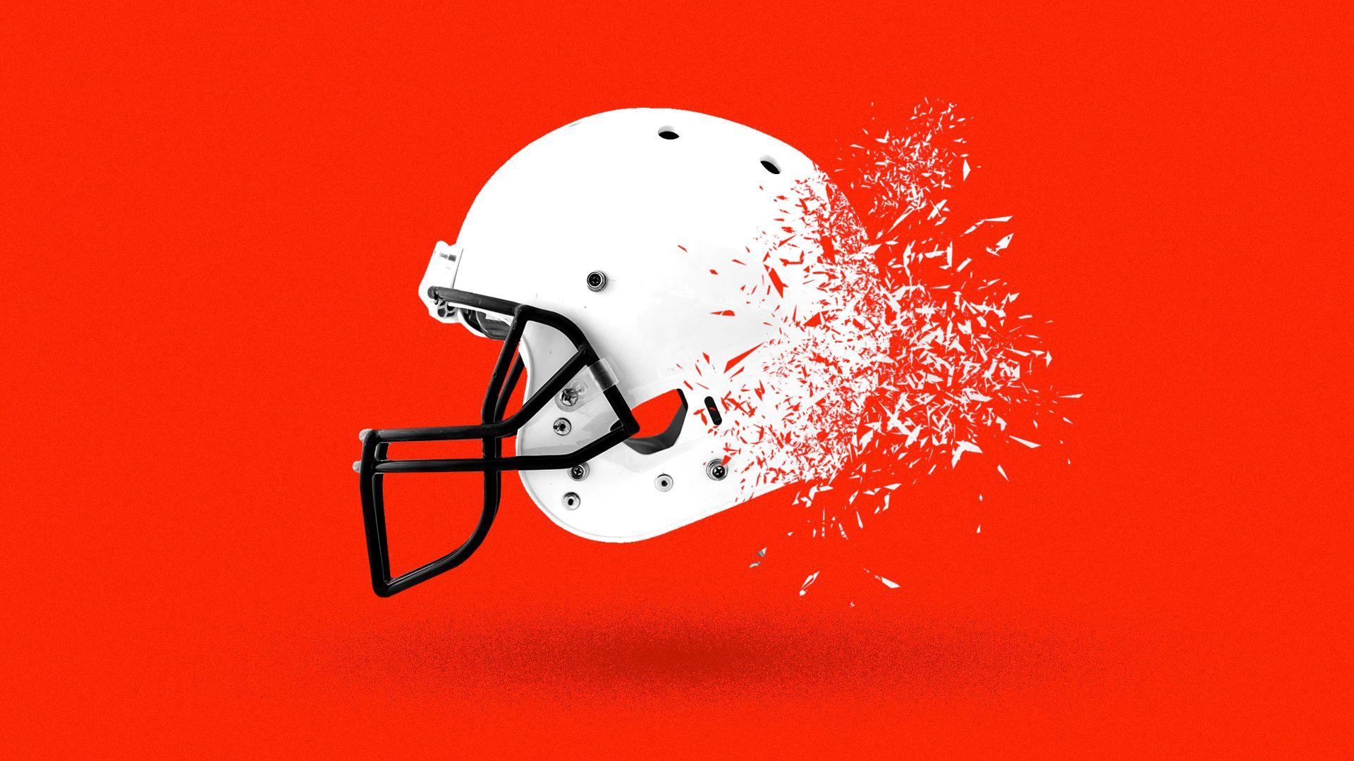 Illustration of a helmet shattering