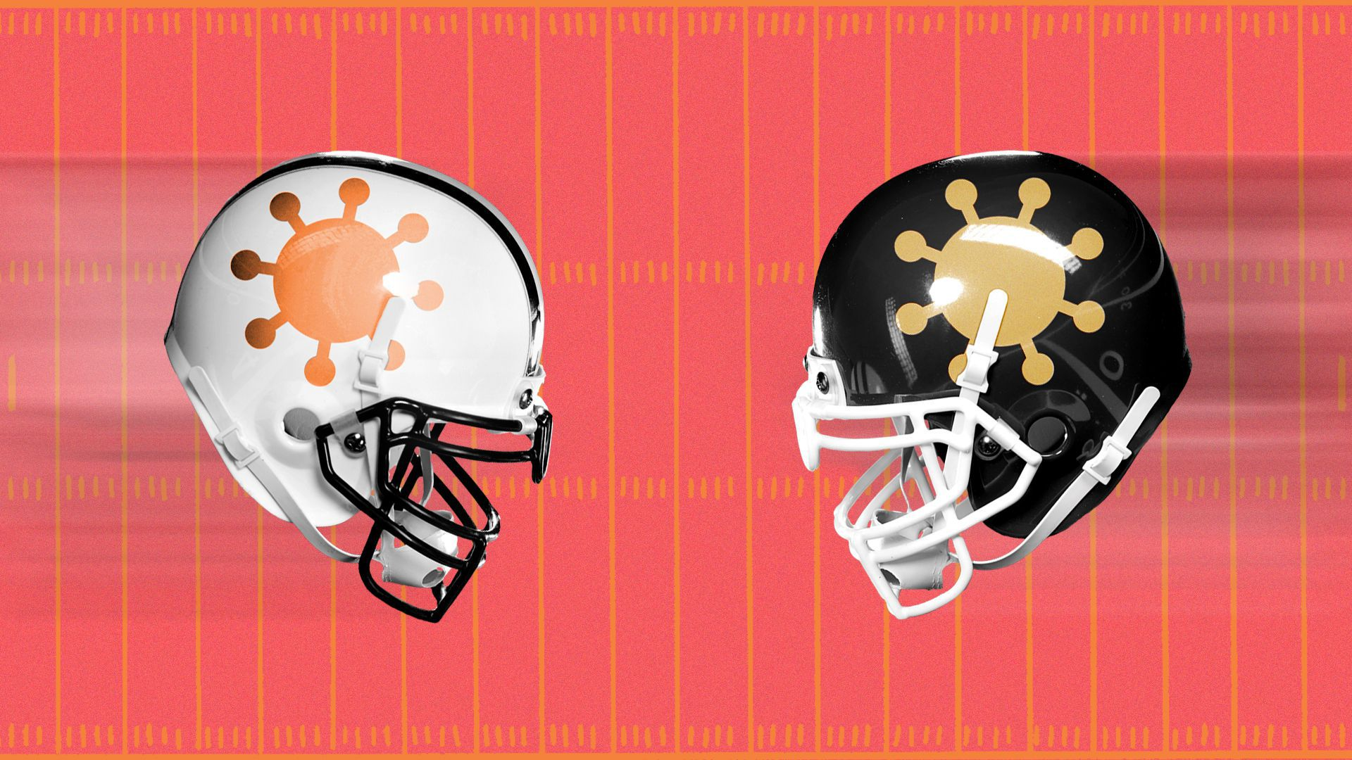 Illustration of two football helmets with coronavirus logos on them flying at each other.