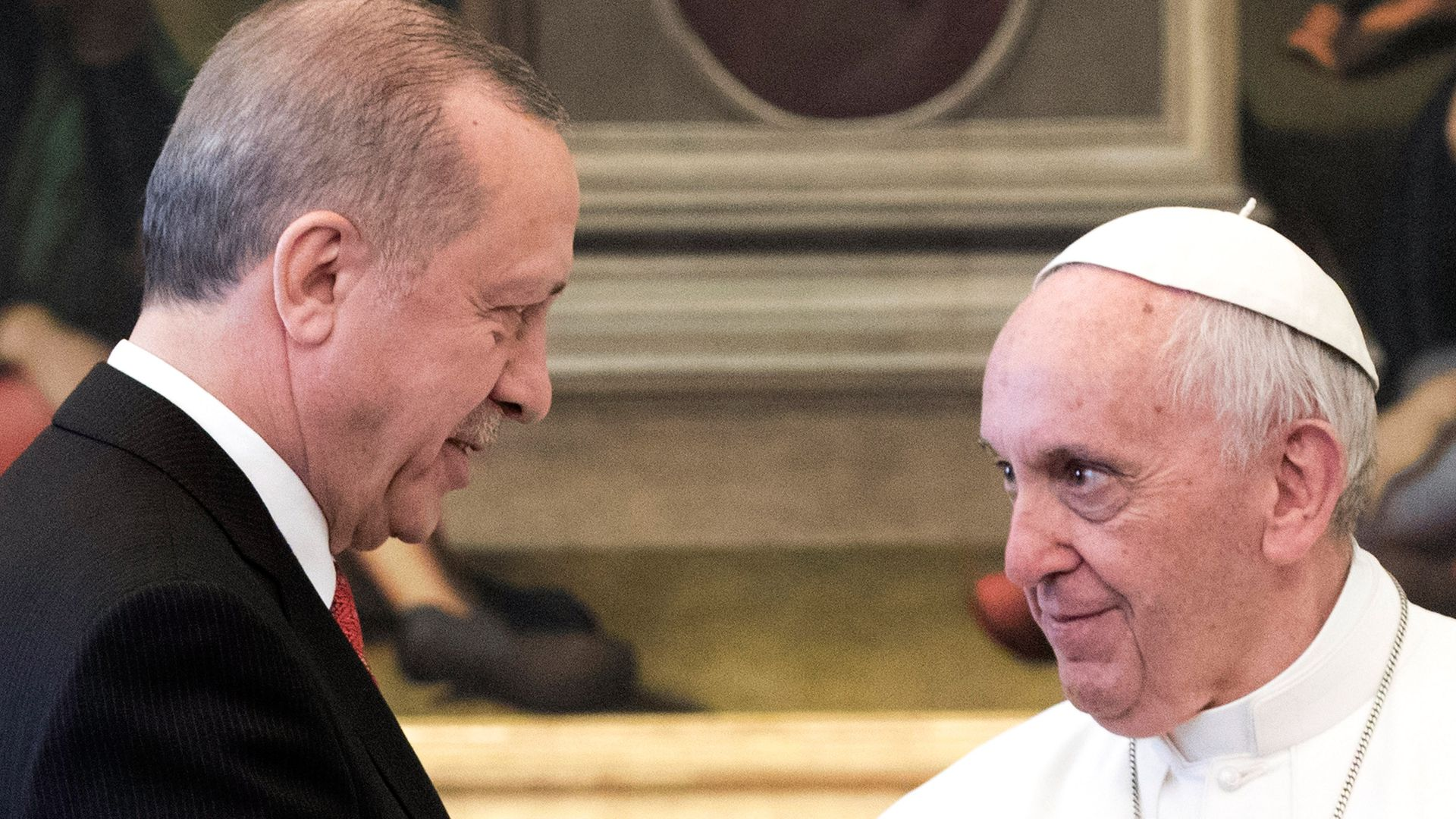 Pope Francis meets President of Turkey Recep Tayyip Erdogan at the Apostolic Palace.