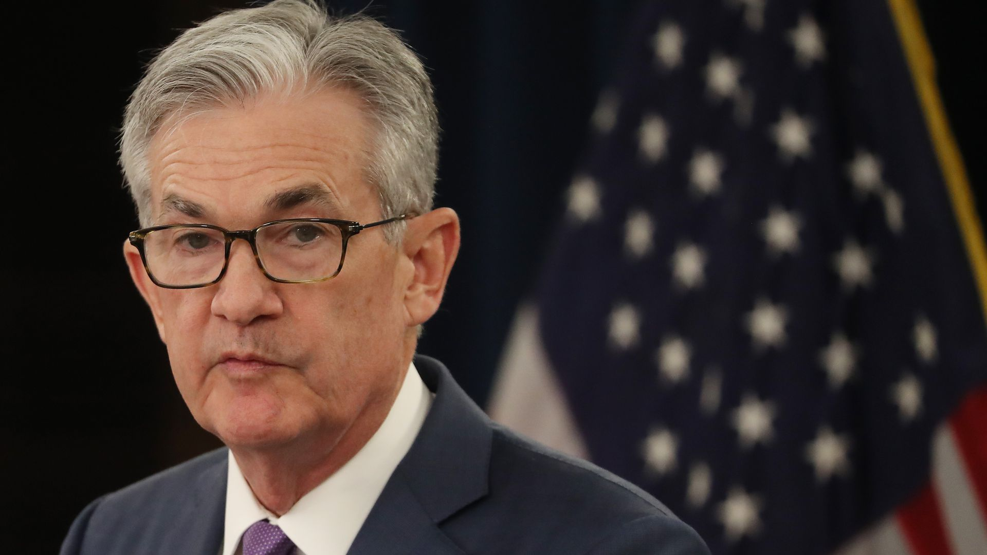Federal Reserve Board Chairman Jerome Powell speaks during a news conference in July