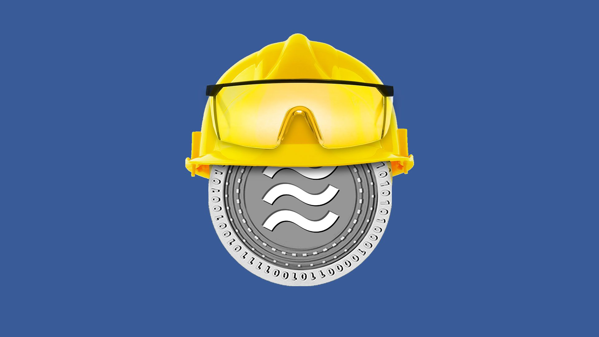Illustration of a Libra coin wearing a hard hat and safety glasses.