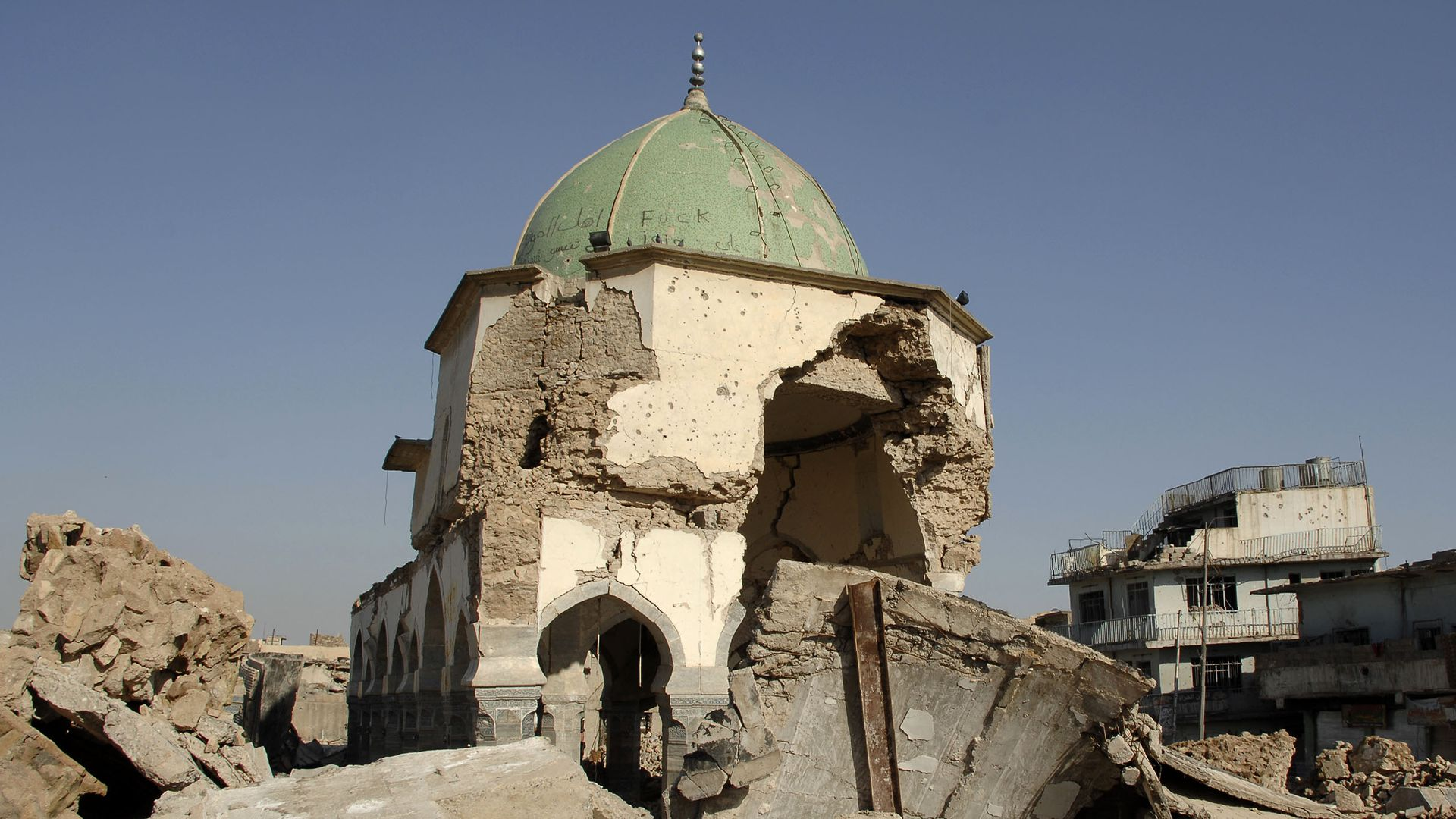 The landmark al-Nuri mosque in the old city of Mosul in northern Iraq.