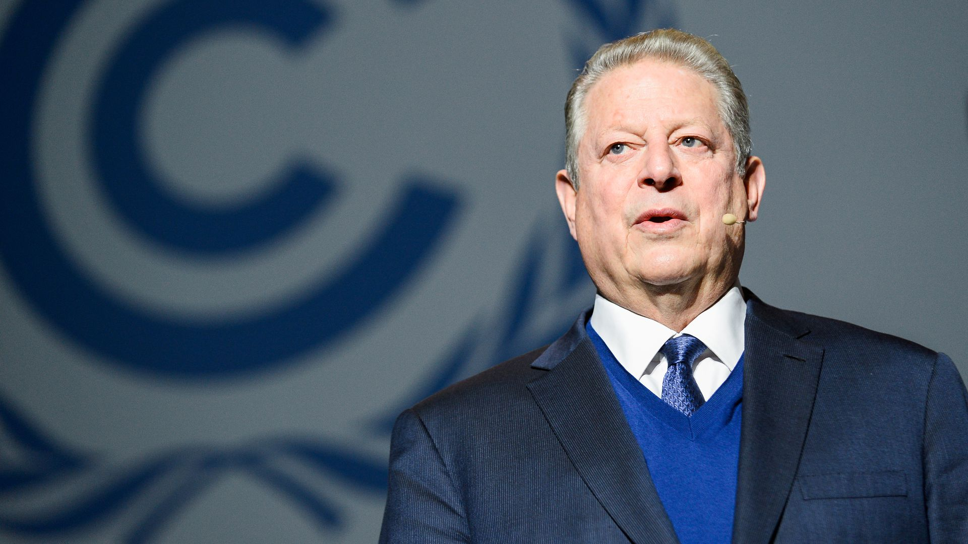 Al Gore, Former U.S. Vice President and Chairman of The Climate Reality Project seen speaking during the Climate Crisis and its Solutions presentation at the COP24 UN Climate Change Conference 2018.