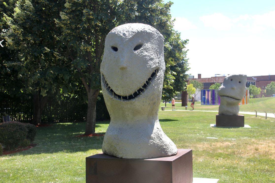 Moonrise, east. january sculpture in Des Moines' Pappajohn Sculpture Park.