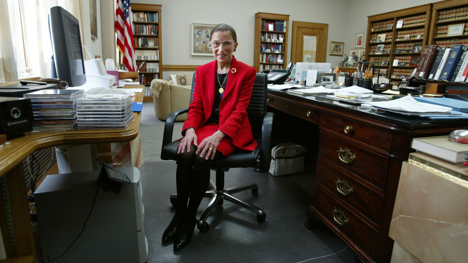 Justice Ginsburg sits in her chambers in 2002.
