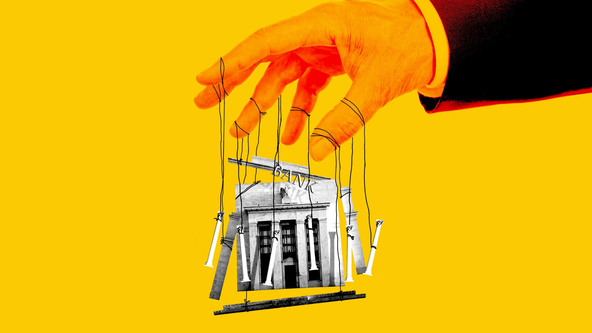 Illustration of a giant hand in a business suit holding a marionette bank