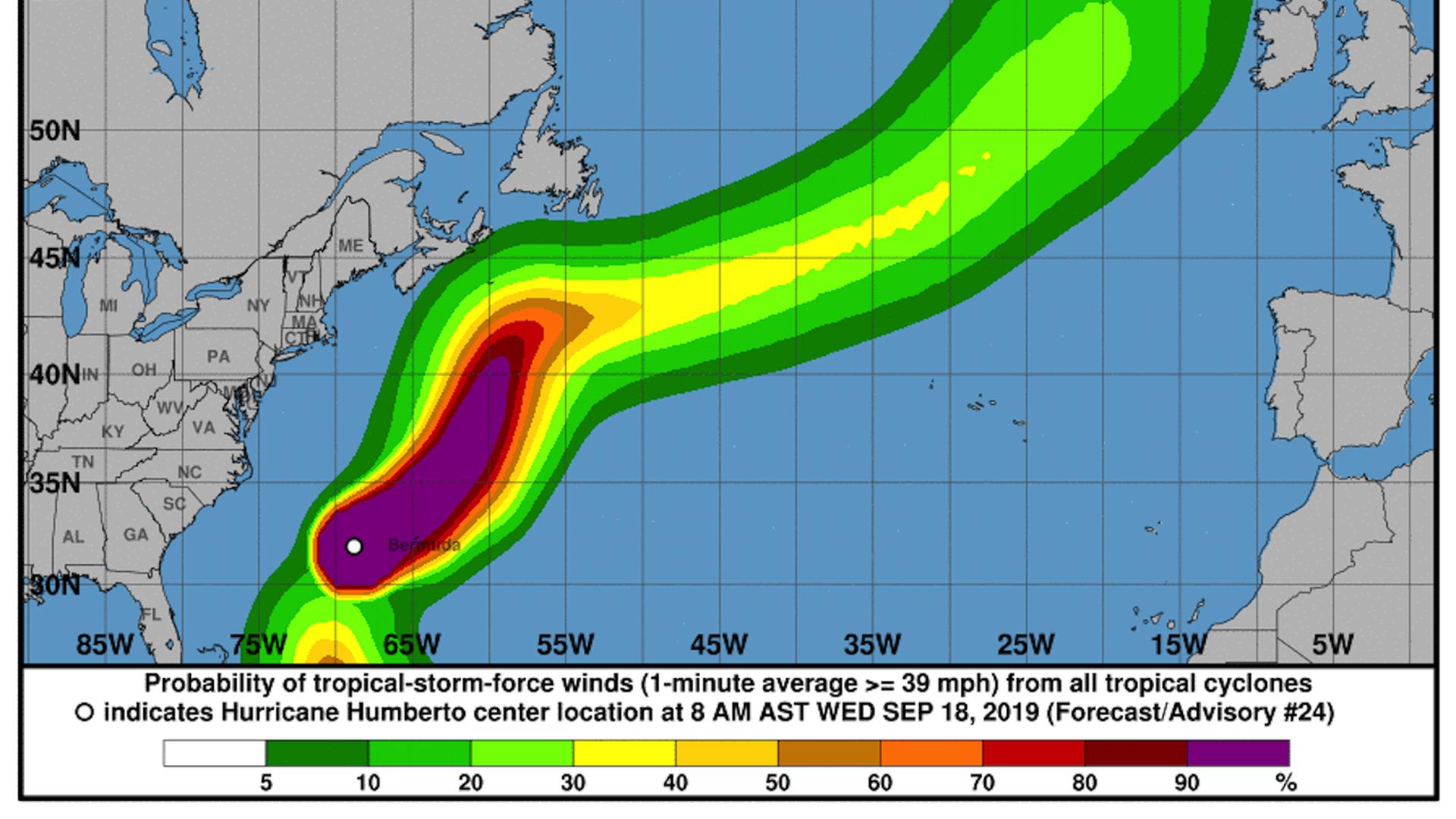map of Hurricane humberto's track