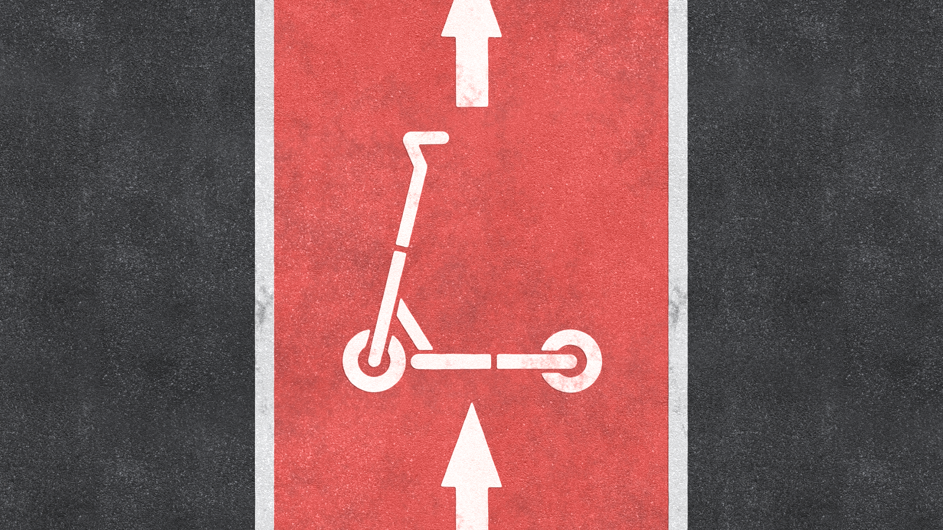 Illustration of a bike lane painted red with a scooter sign on it.