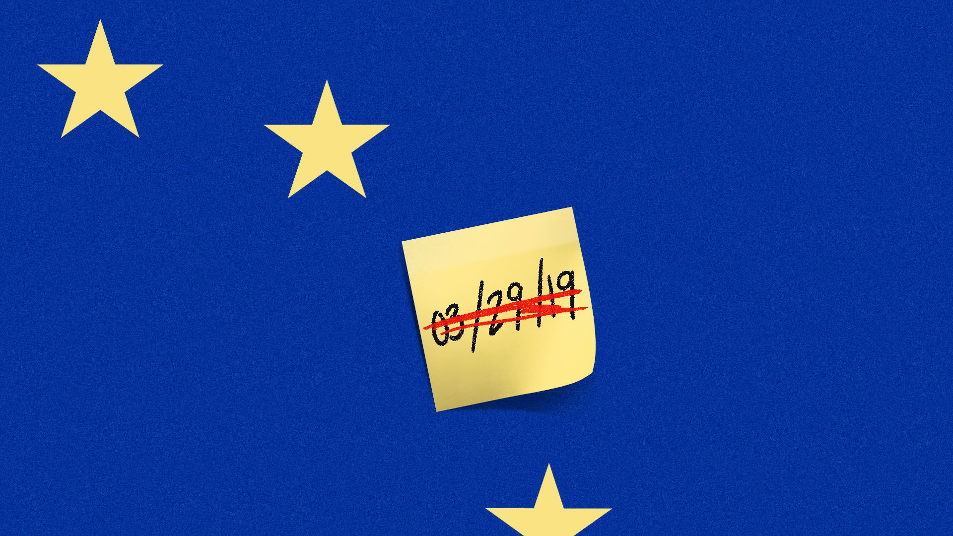 Illustration of post it with Brexit deadline