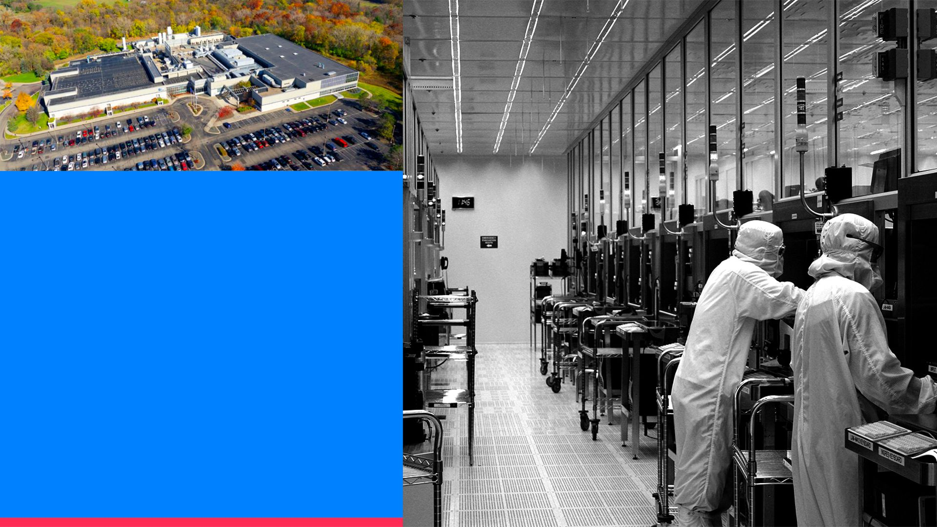 A collage of images of the inside and outside of SkyWater's chipmaking facility