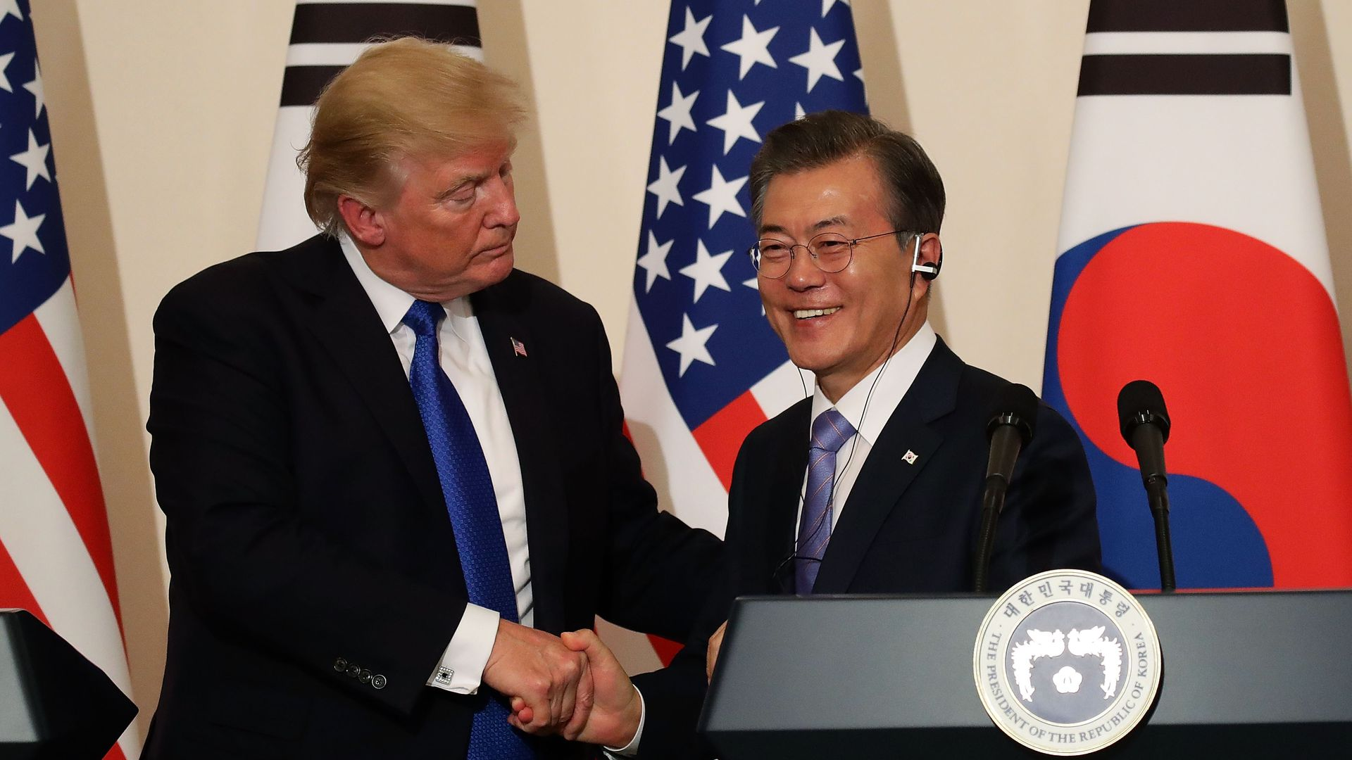 Moon Jae-in and President Trump