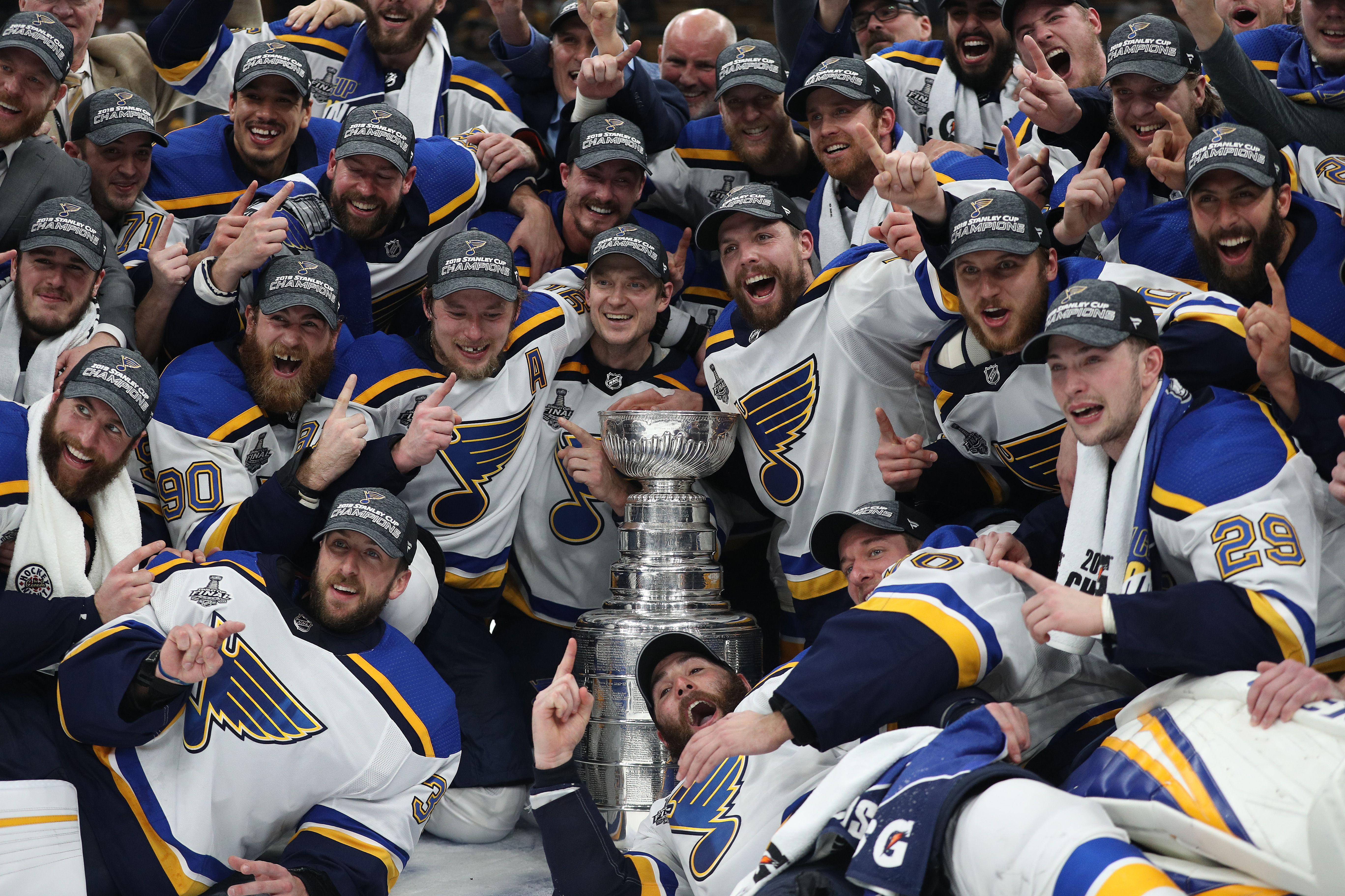 Blues players with the Cup
