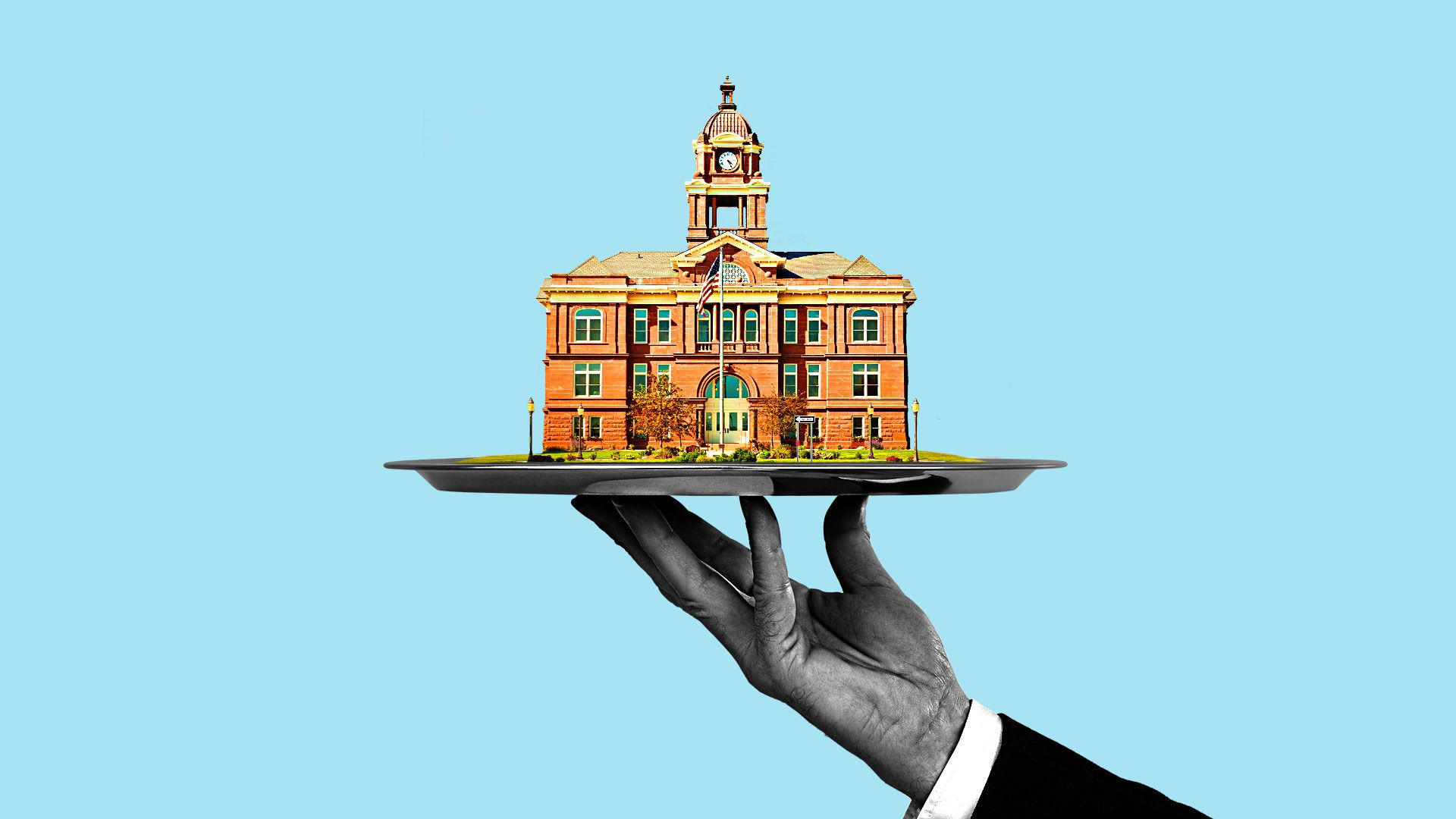 Illustration of a businessman offering a small town hall on a platter