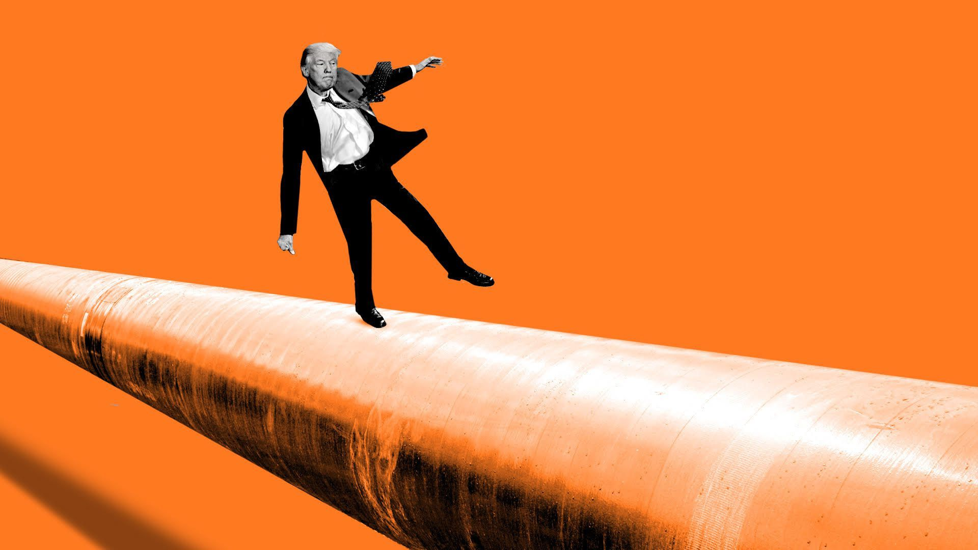 illustration of donald trump balancing on a natural gas pipeline