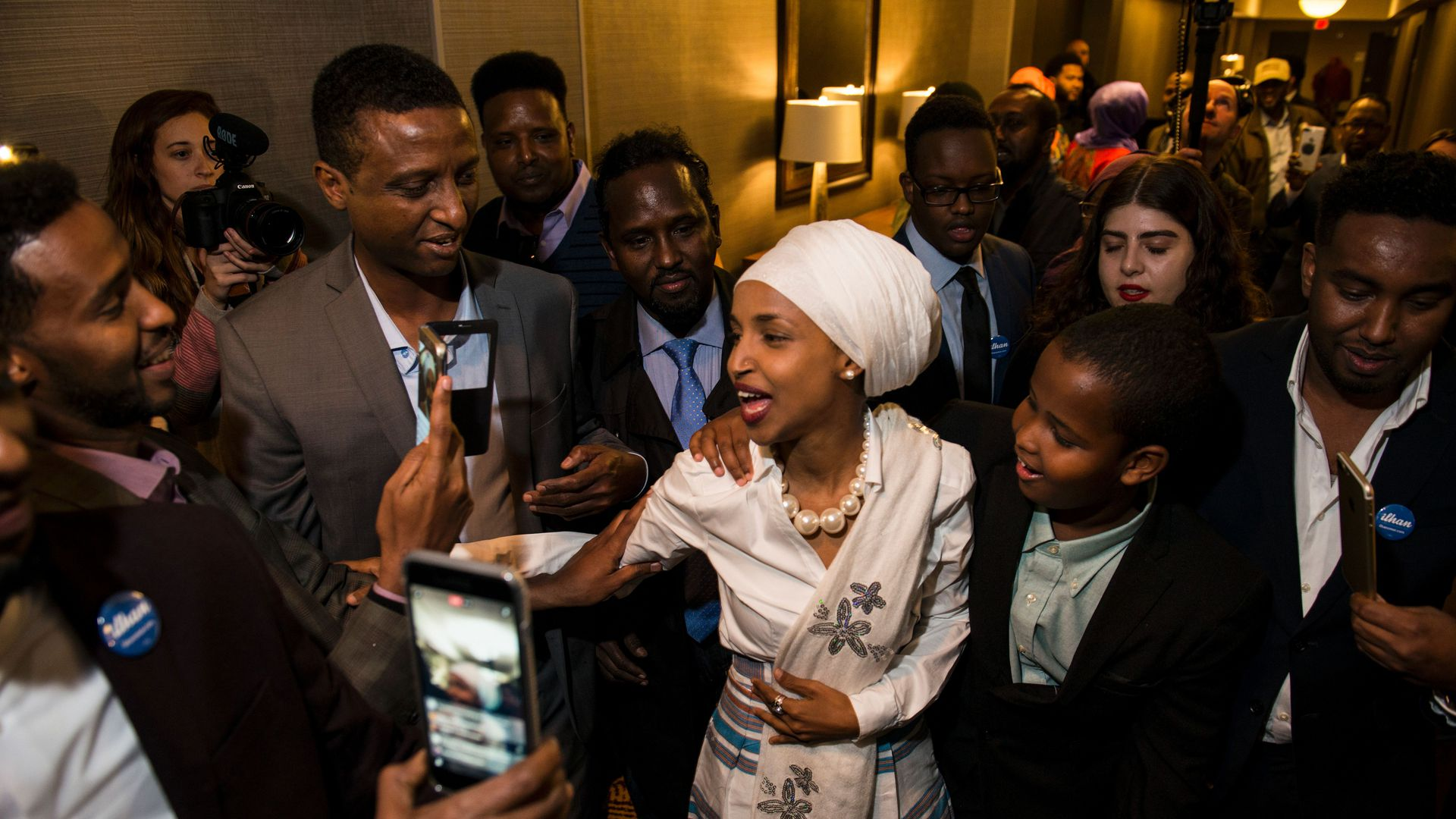 Ilhan Omar, at a campaign event in November 2016 in Minneapolis, Minnesota. Photo: Stephen Maturen/AFP/Getty Images