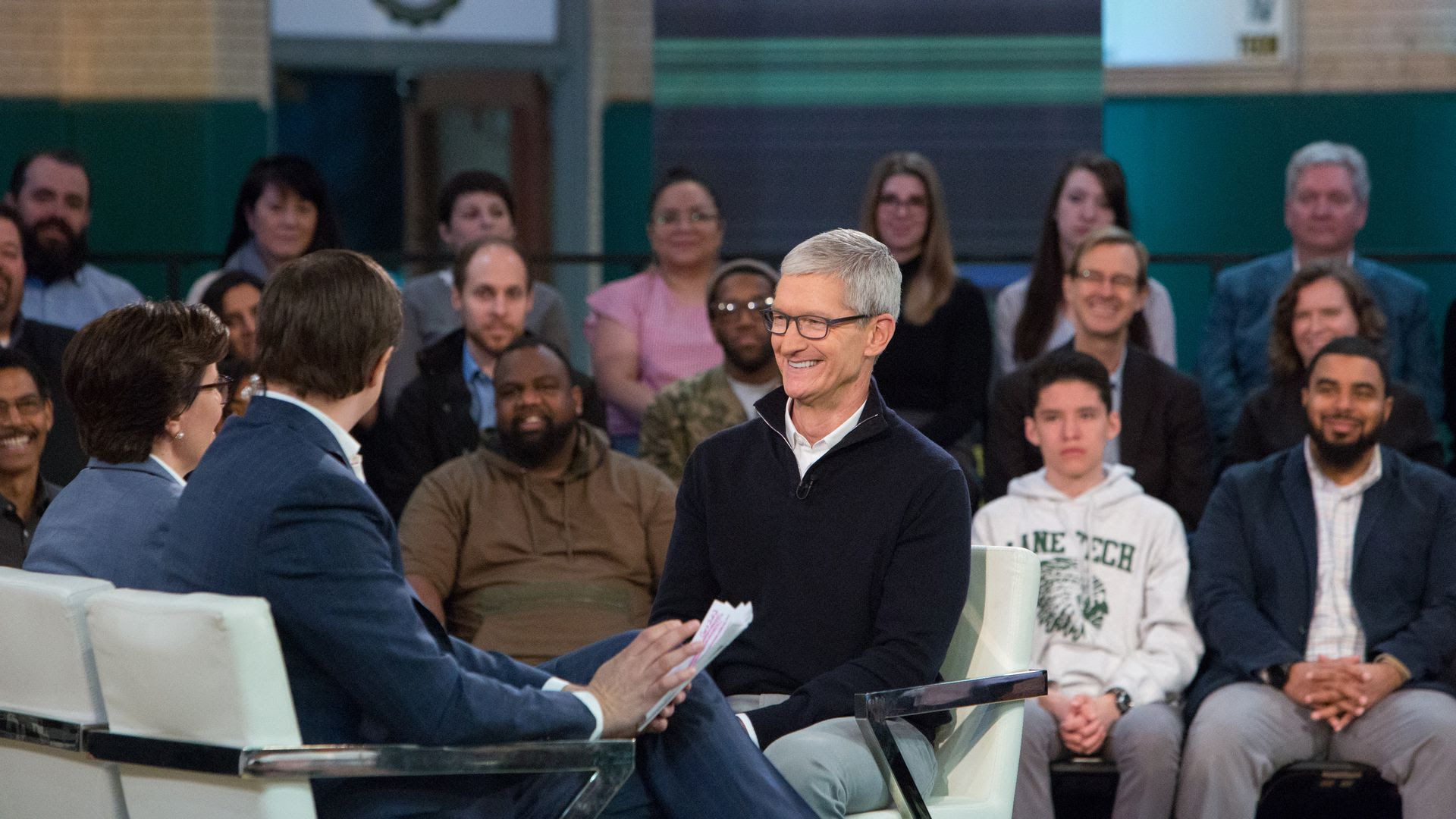 Tim Cook talking with Kara Swisher and Chris Hayes