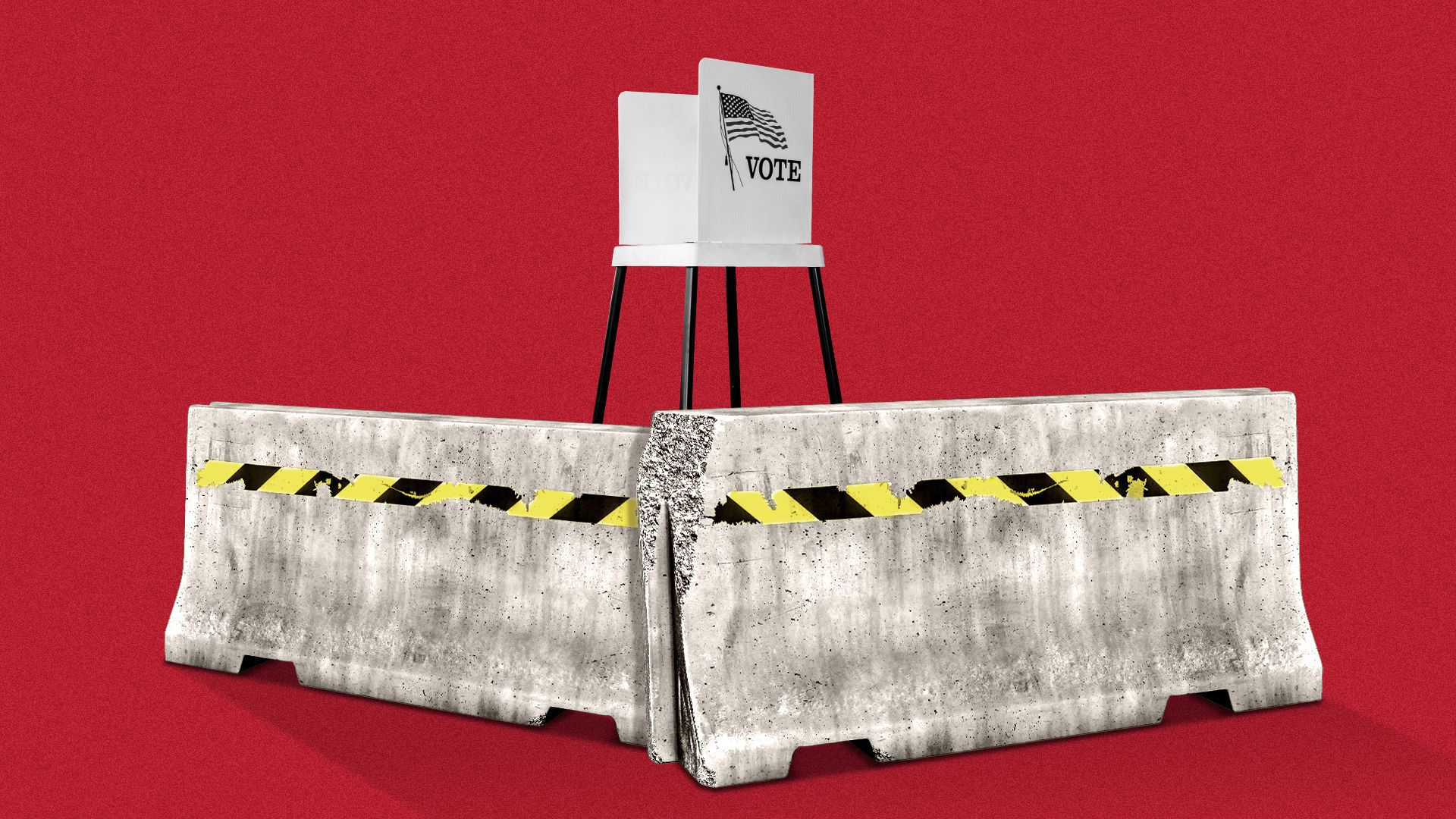 Illustration of a voting booth behind two concrete barriers.
