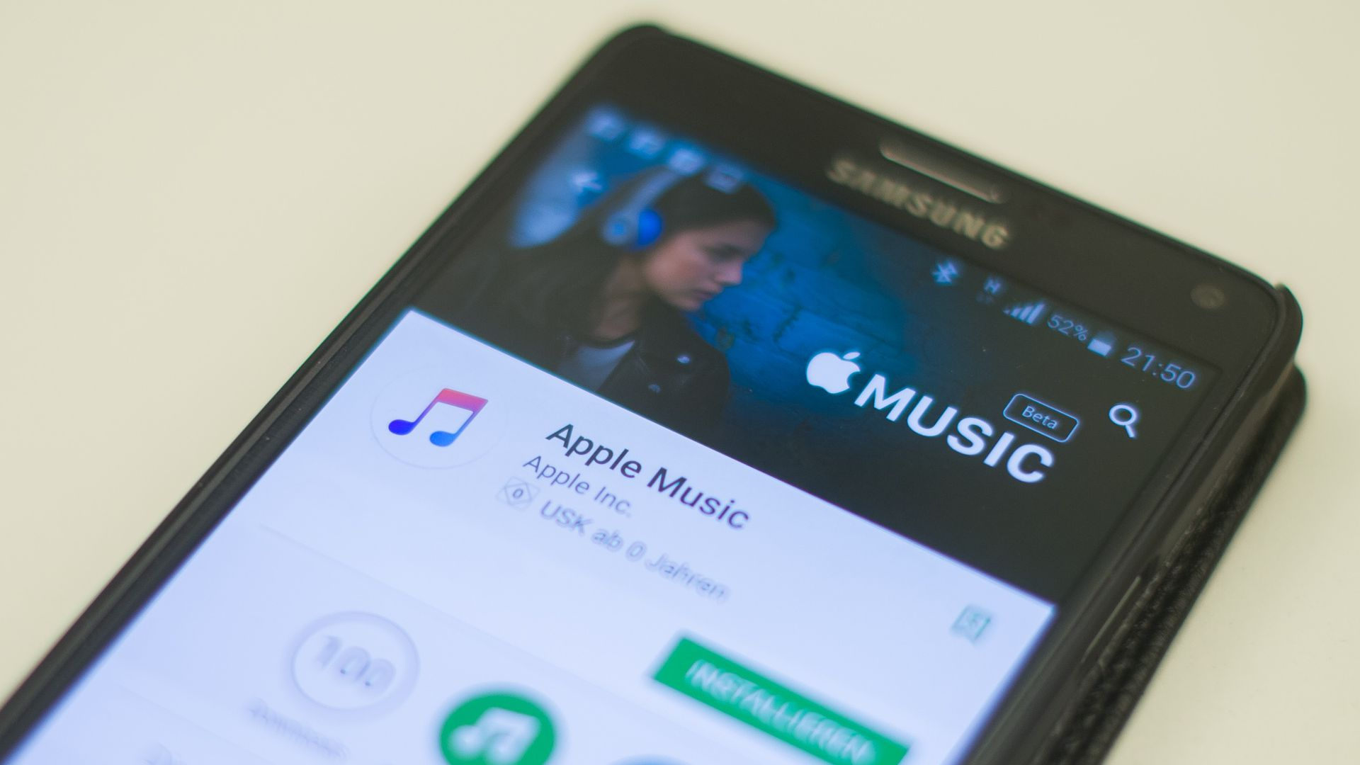 Photo of Apple Music app on Samsung phone.