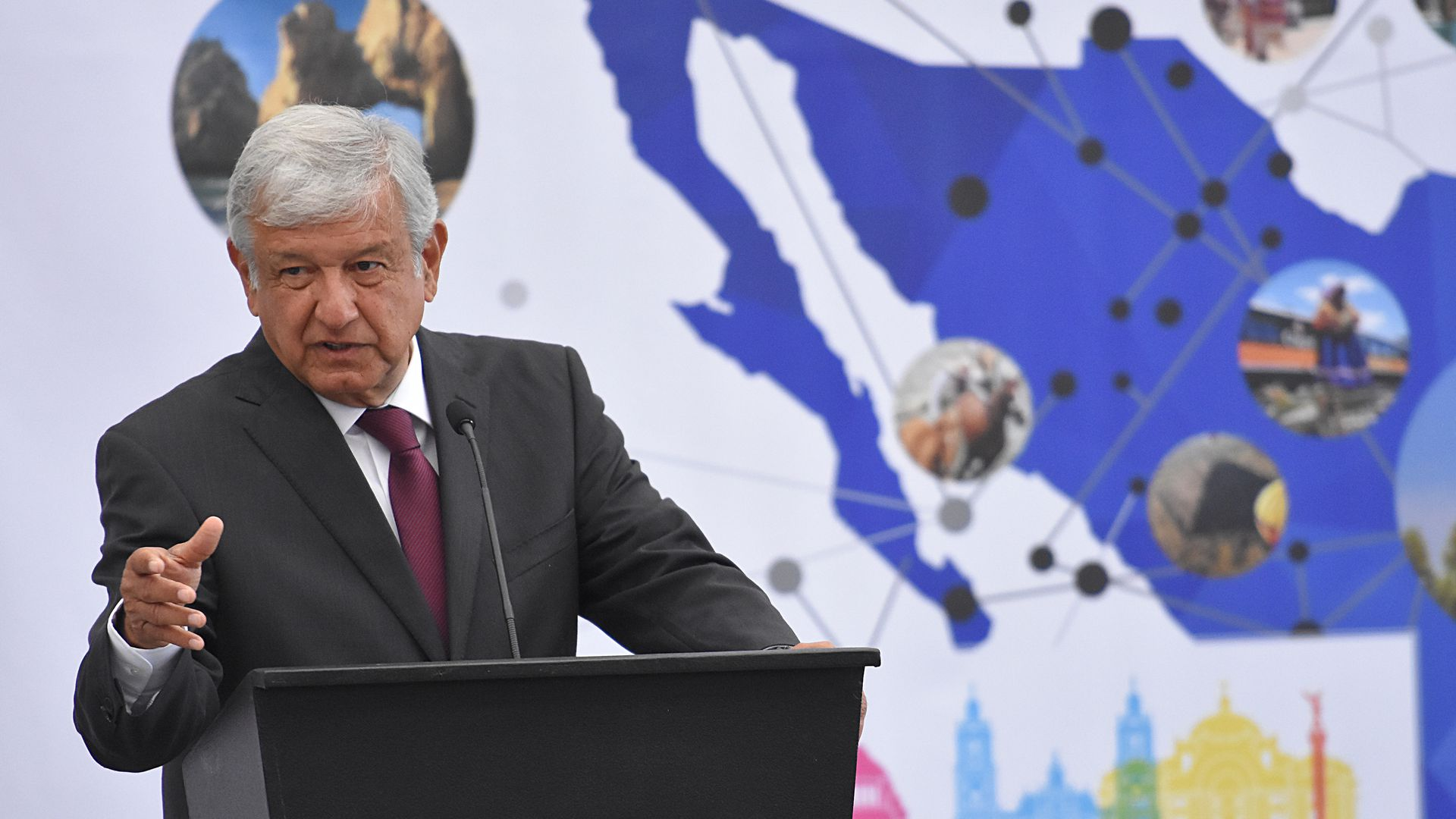 Andres Manuel Lopez Obrador presidential candidate of Mexico talks during the XVI edition of the National Forum of Tourism at Chapultepec Castle on May 07, 2018 in Mexico City, Mexico.