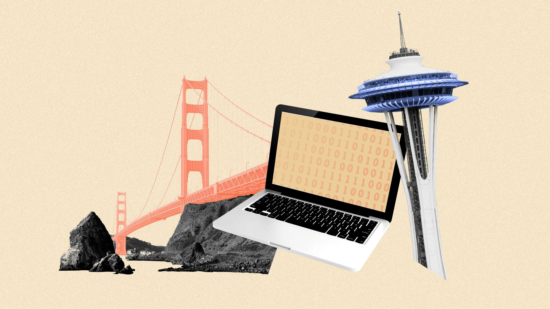 Illustration of a laptop collaged with the Golden Gate Bridge and the Space Needle