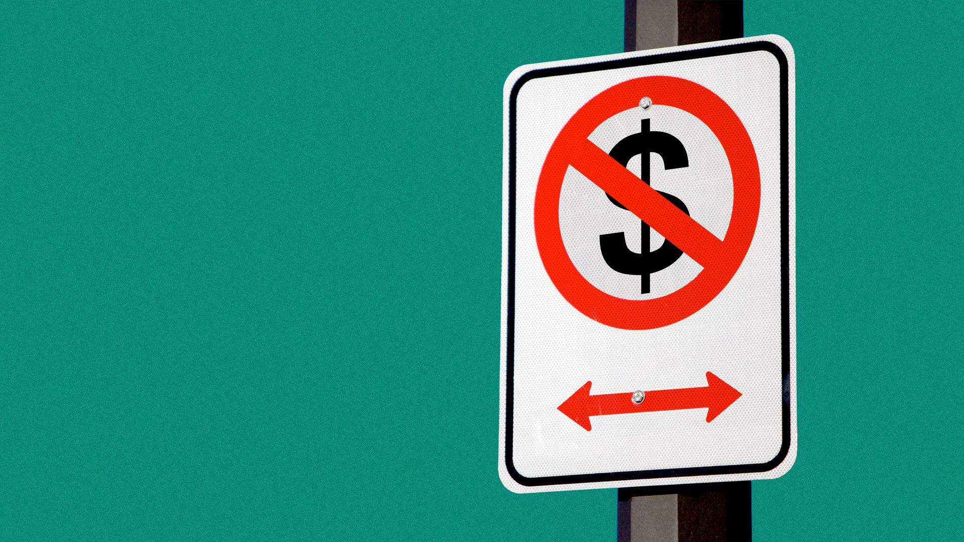 """Illustration of a """"no parking"""" sign with a dollar sign crossed out instead of a P."""