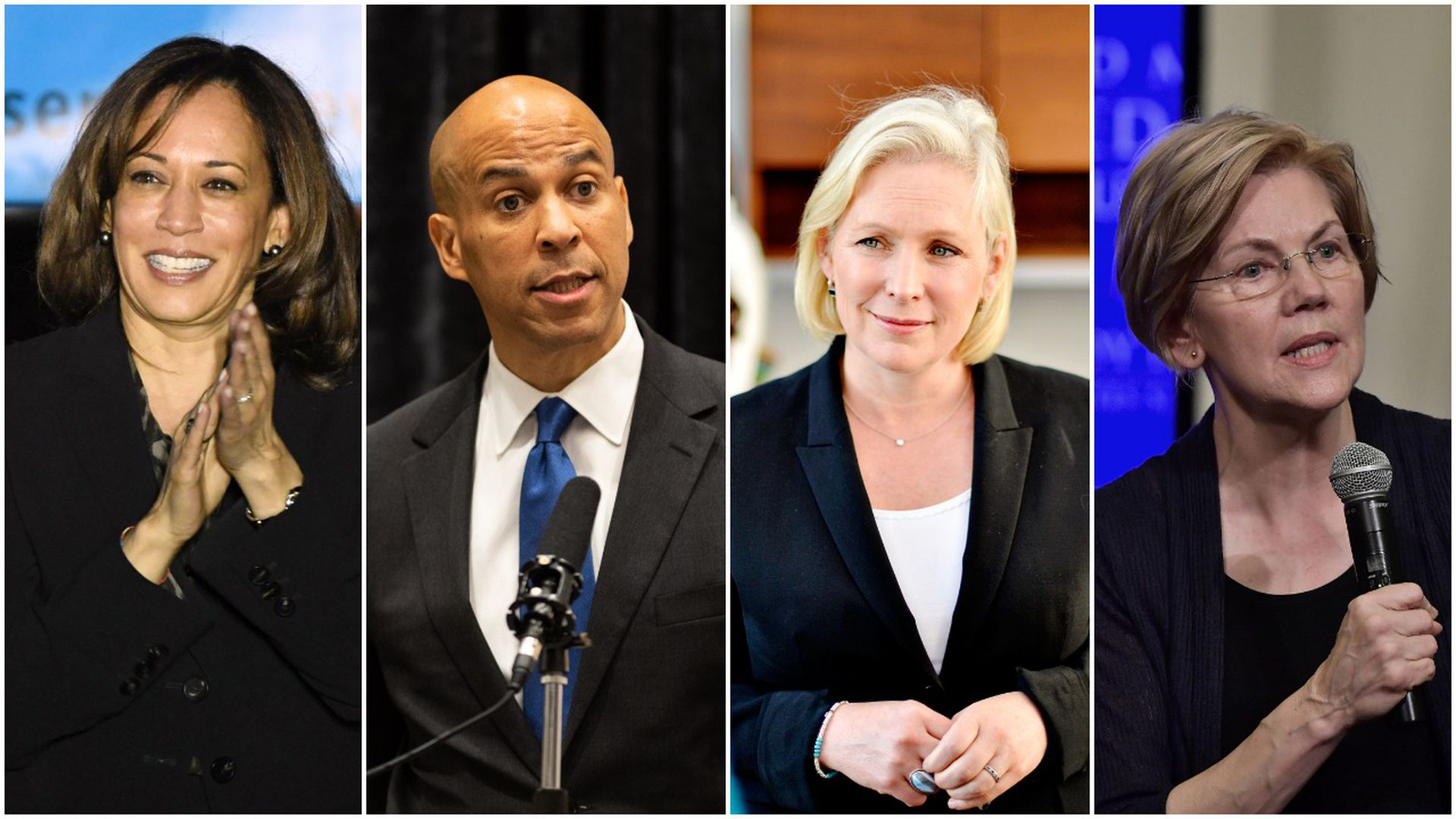Kamala Harris, Cory Booker, Kirsten Gillibrand and Elizabeth Warren