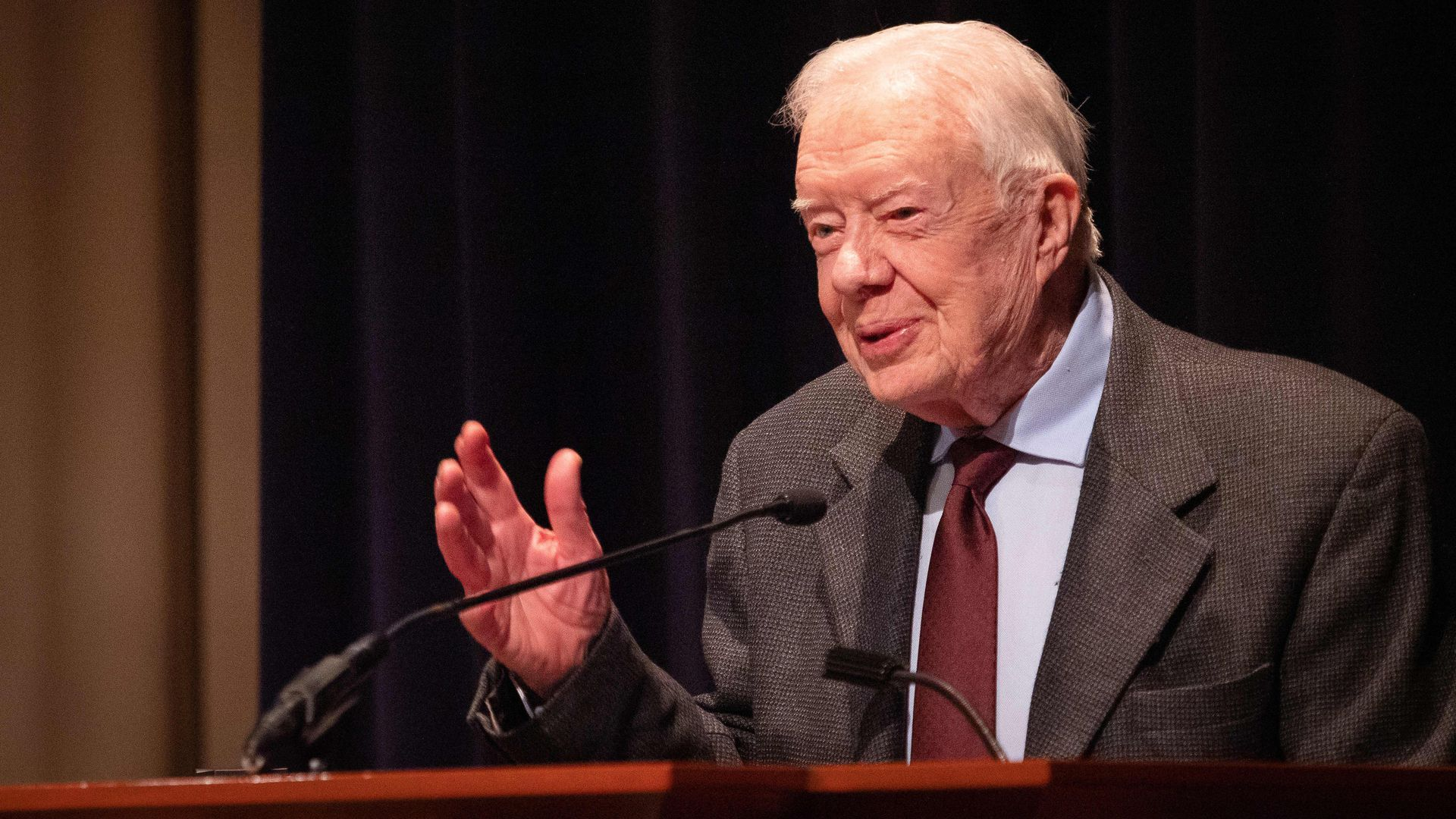 Former U.S. President Jimmy Carter speaksat the Carter Center on January 18, 2019 in Atlanta, the United States.