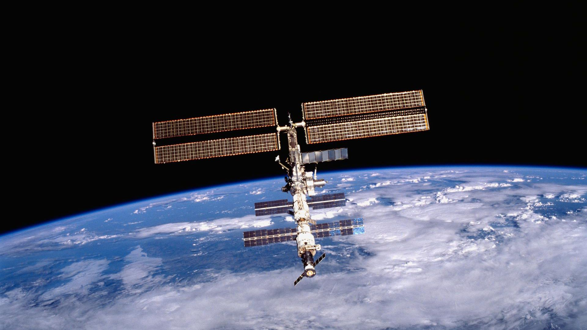 An image of the International Space Station taken from the Space Shuttle Discovery during a 2001 mission.