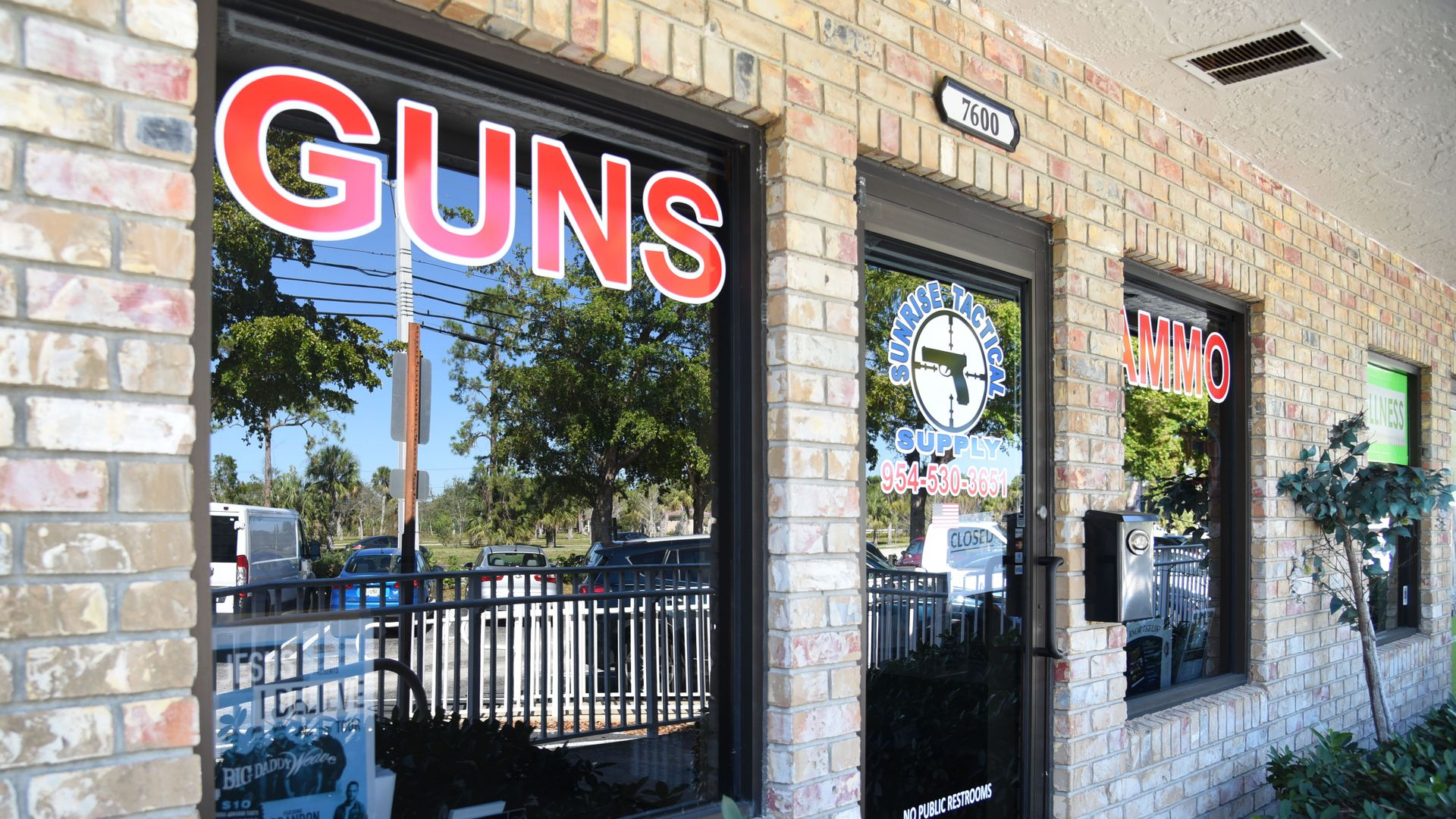 Outside view of Sunrise Tactical Supply store in Coral Springs, Florida on February 16, 2018 where school shooter Nikolas Cruz bought his AR-15 to gun down students at Marjory Stoneman High School.