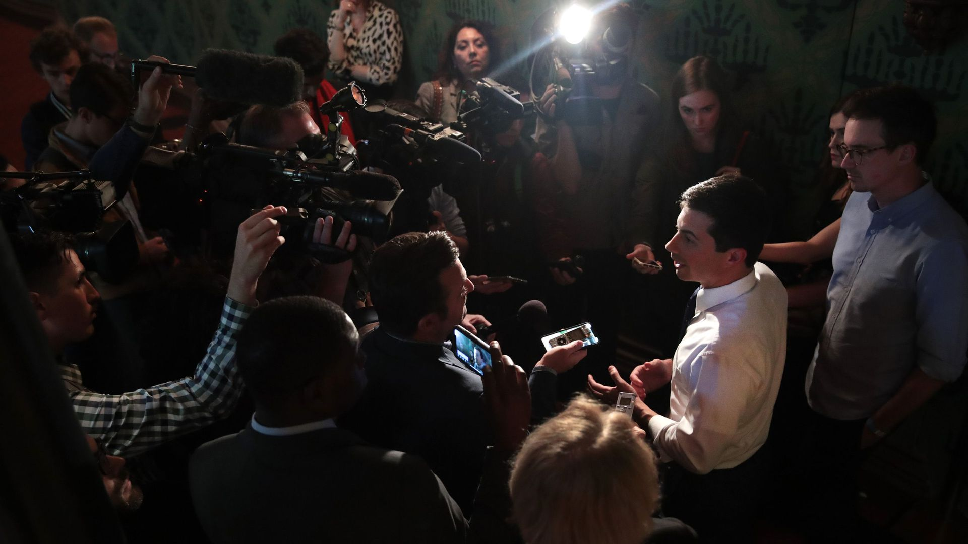 Pete Buttigieg fields questions after speaking at the University of Chicago on Oct. 18.