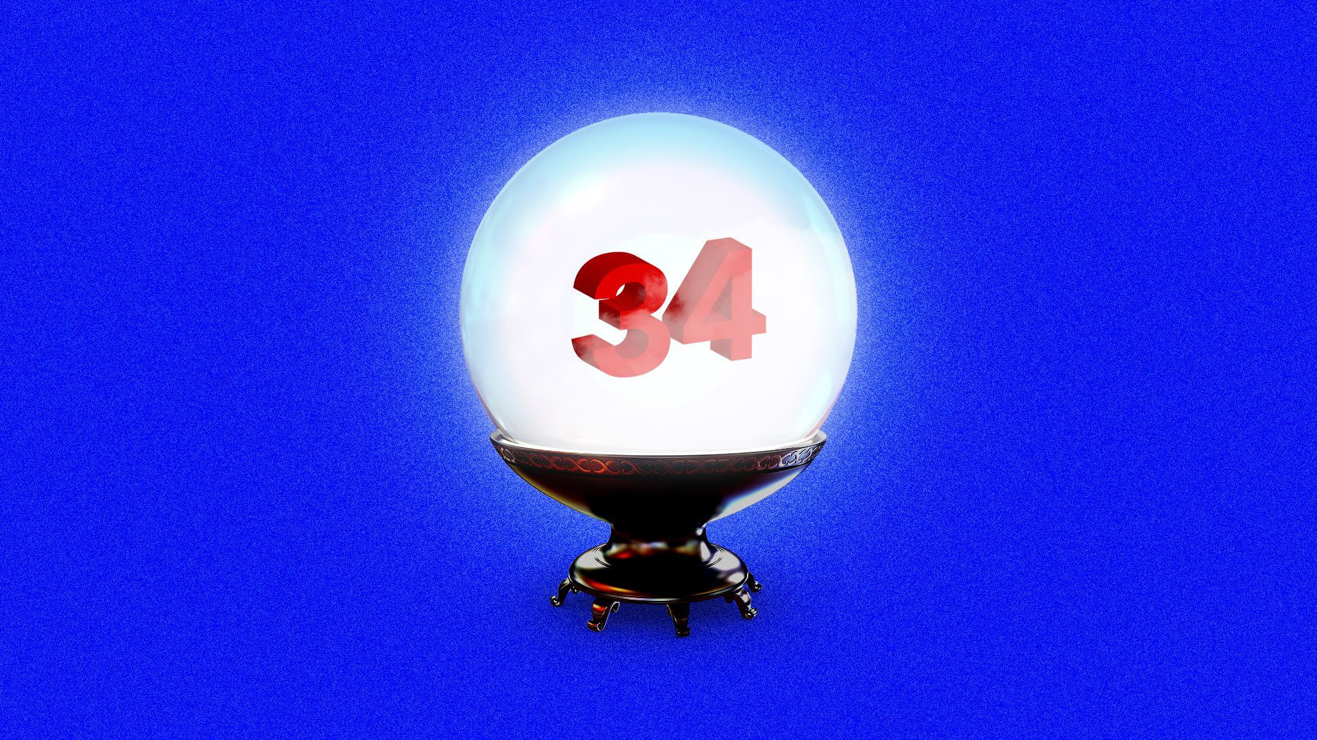 A magic ball showing the number 34.