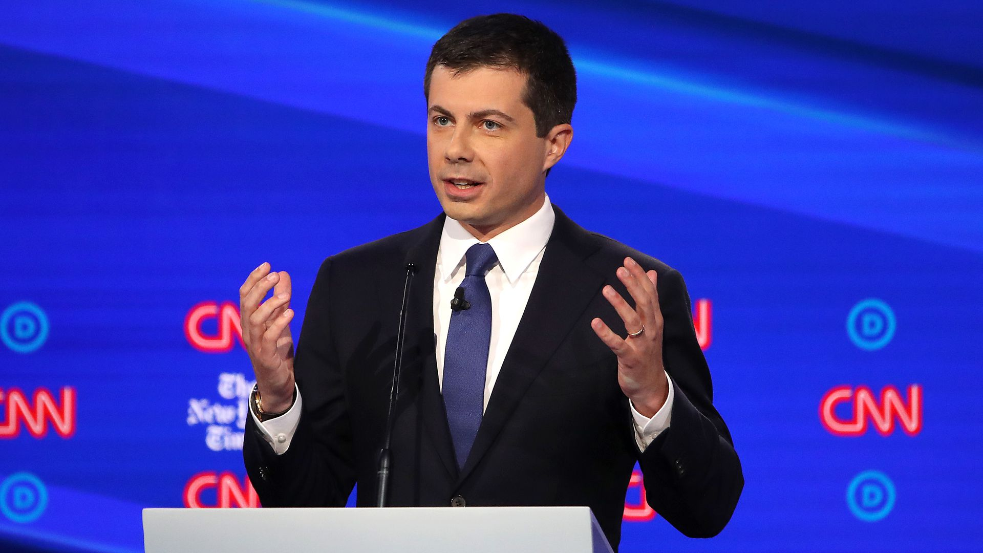South Bend, Indiana Mayor Pete Buttigieg speaks during the Democratic Presidential Debate at Otterbein University on October 15, 2019 in Westerville, Ohio.