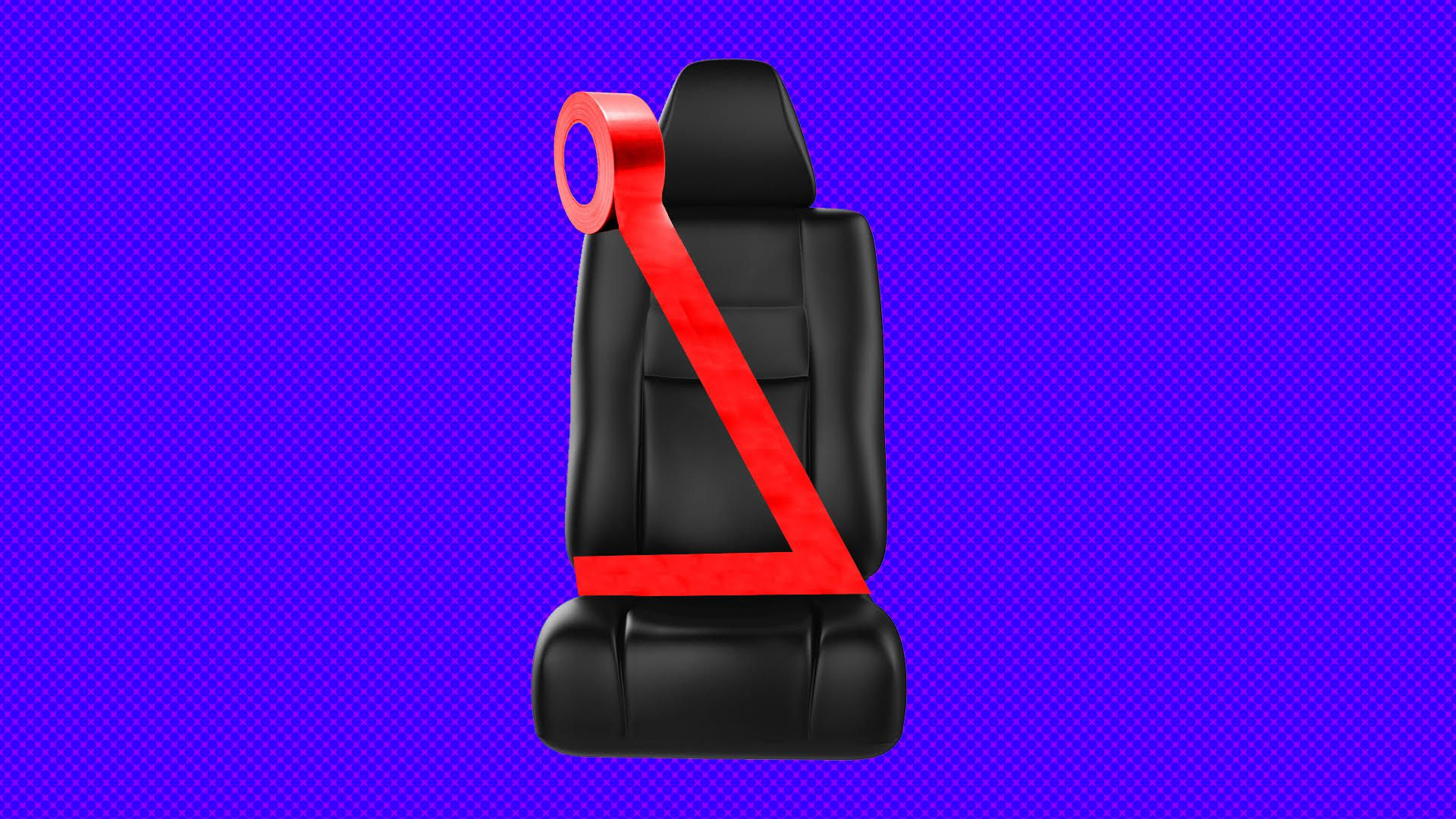a black leather car seat with a seatbelt made of red duct tape